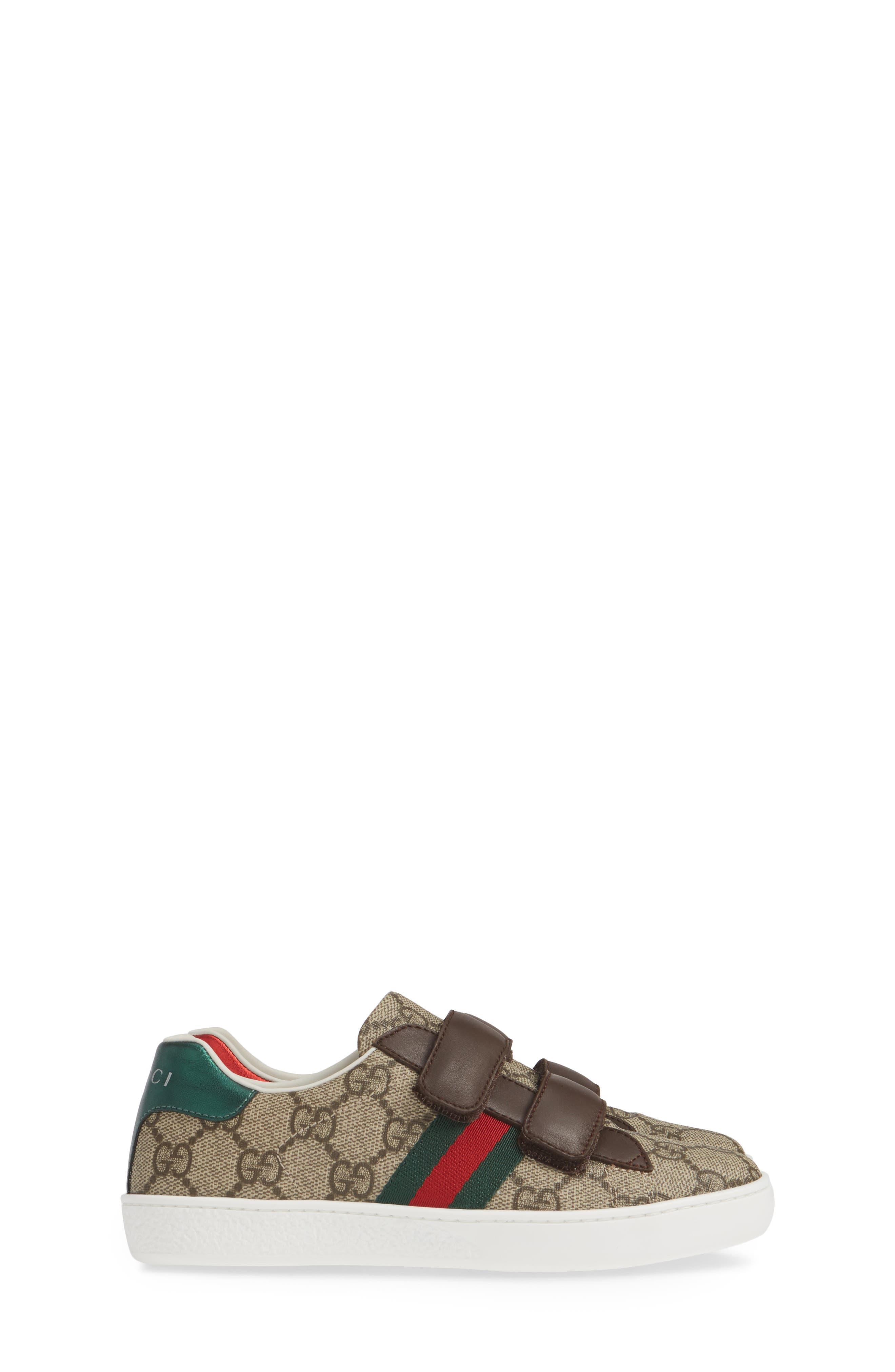 GUCCI, New Ace Monogram Sneaker, Alternate thumbnail 4, color, BEIGE