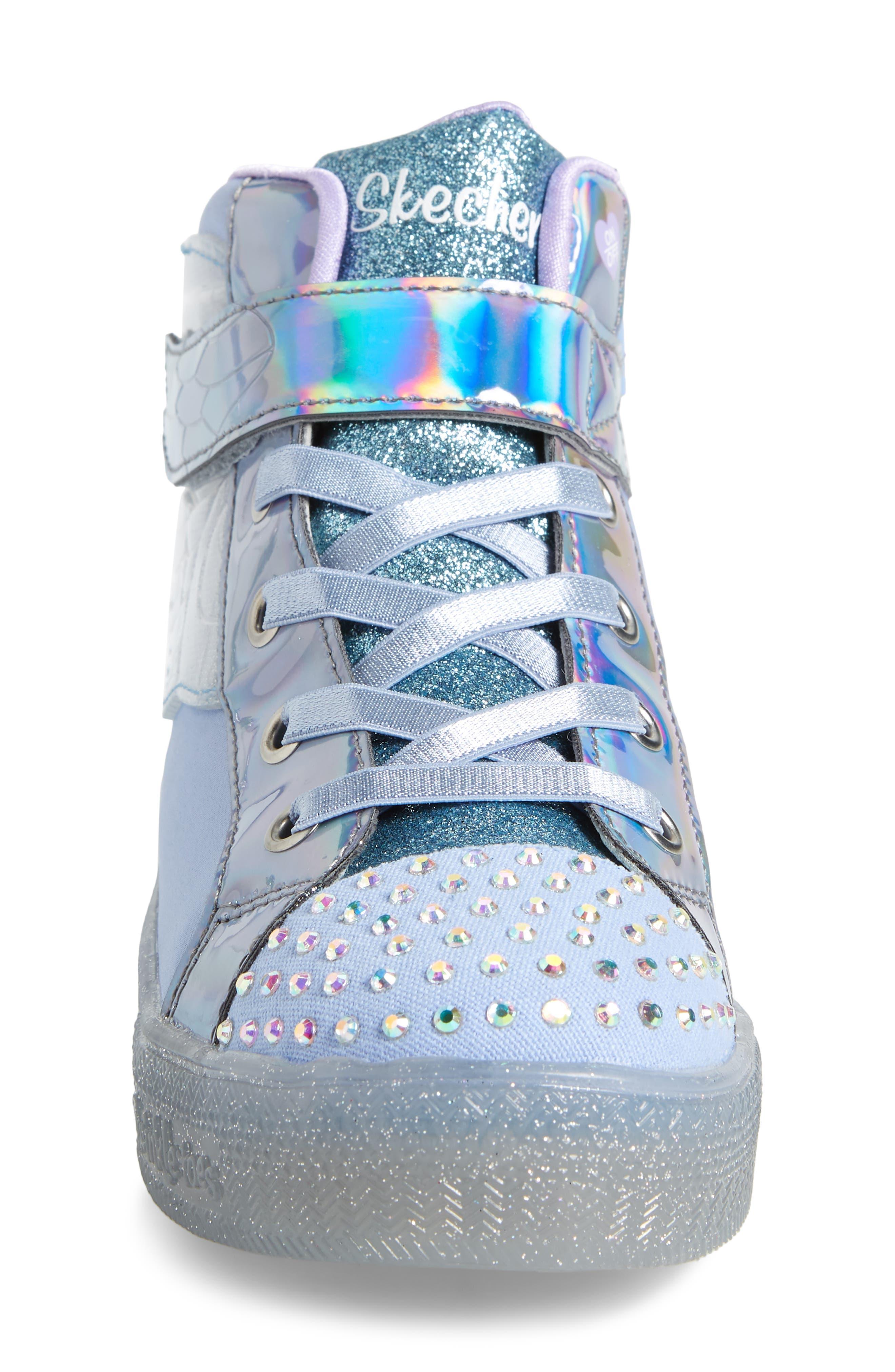 SKECHERS, Twinkle Toes Light-Up Sneaker, Alternate thumbnail 4, color, PERIWINKLE