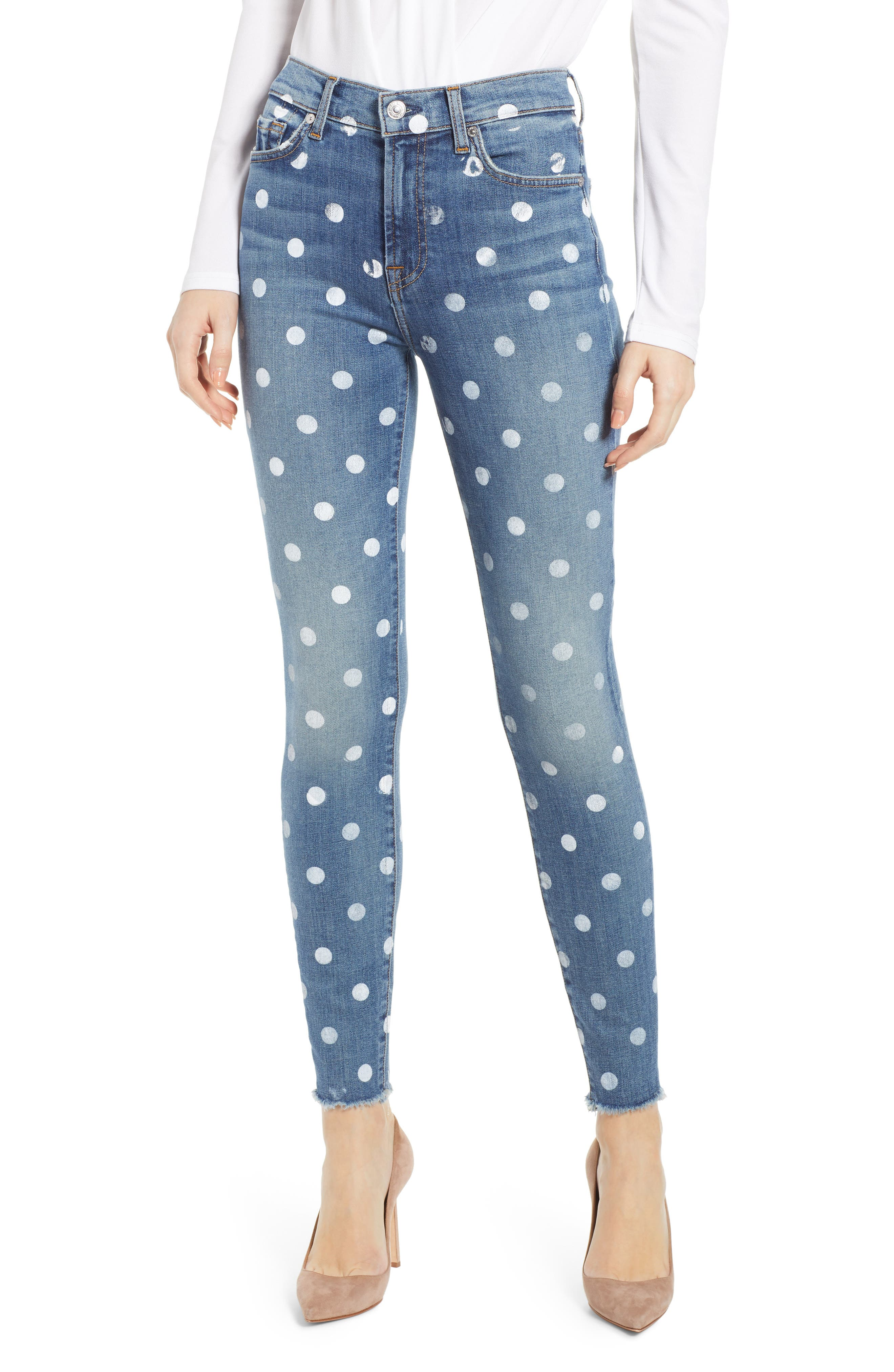 7 FOR ALL MANKIND<SUP>®</SUP>, Polka Dot High Waist Ankle Skinny Jeans, Main thumbnail 1, color, RIDGEMONT VINTAGE