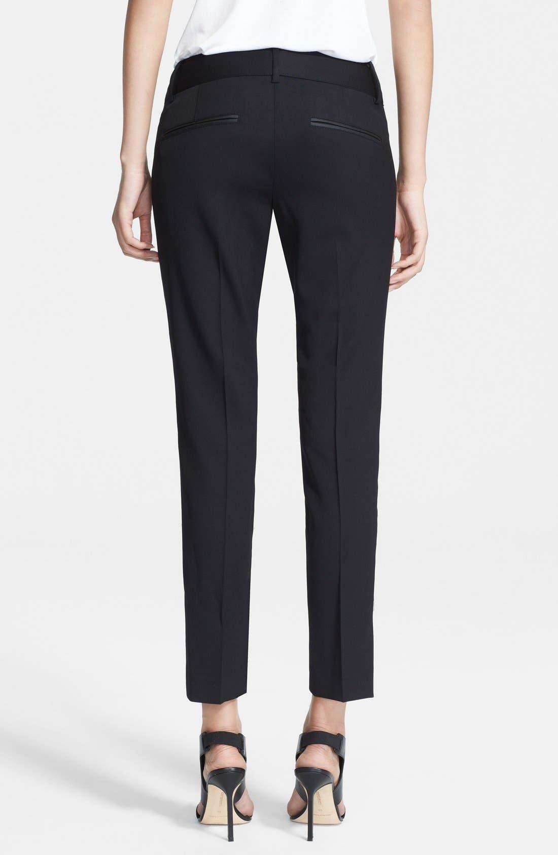 HELMUT LANG, Stretch Wool Ankle Pants, Alternate thumbnail 3, color, BLACK