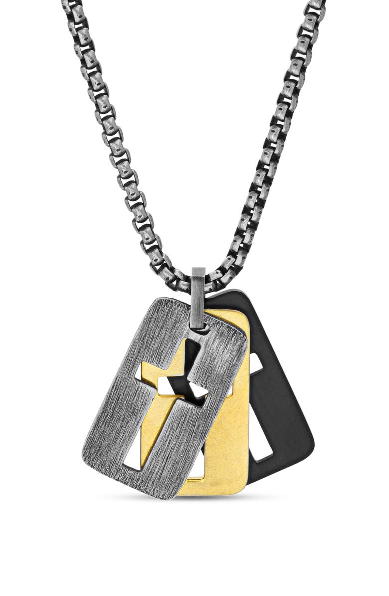 Steve Madden Men's Open Cross Dog Tag Charm Necklace In Stainless Steel In Multi