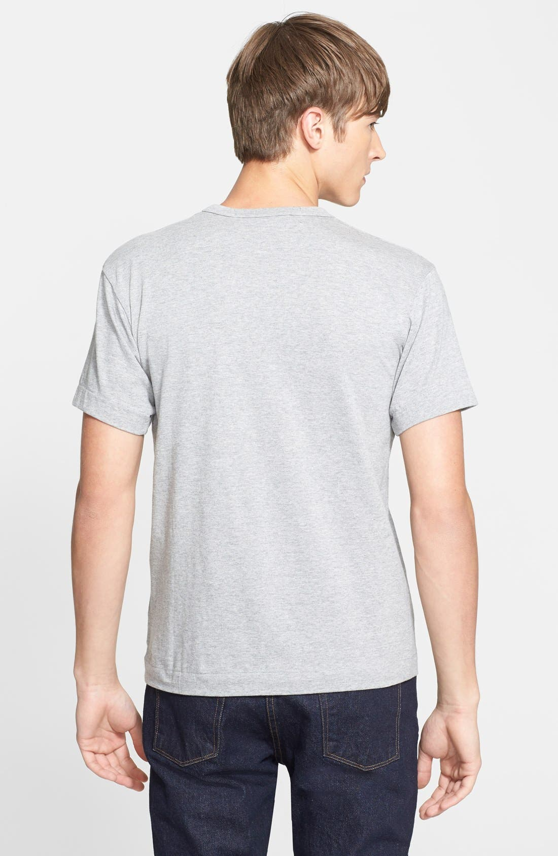 COMME DES GARÇONS PLAY, Logo Graphic Crewneck T-Shirt, Alternate thumbnail 7, color, TOP DYED GRAY