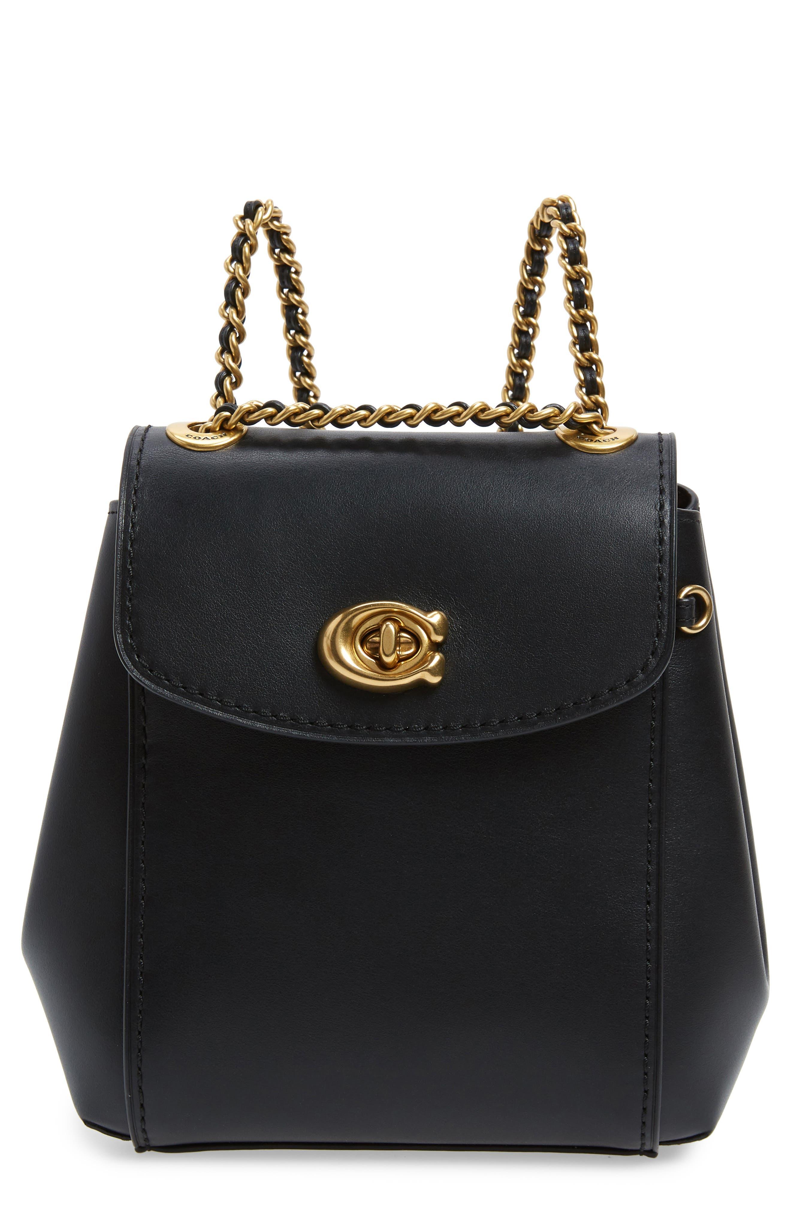 COACH, Parker 16 Convertible Calfskin Leather Backpack, Main thumbnail 1, color, B4/ BLACK