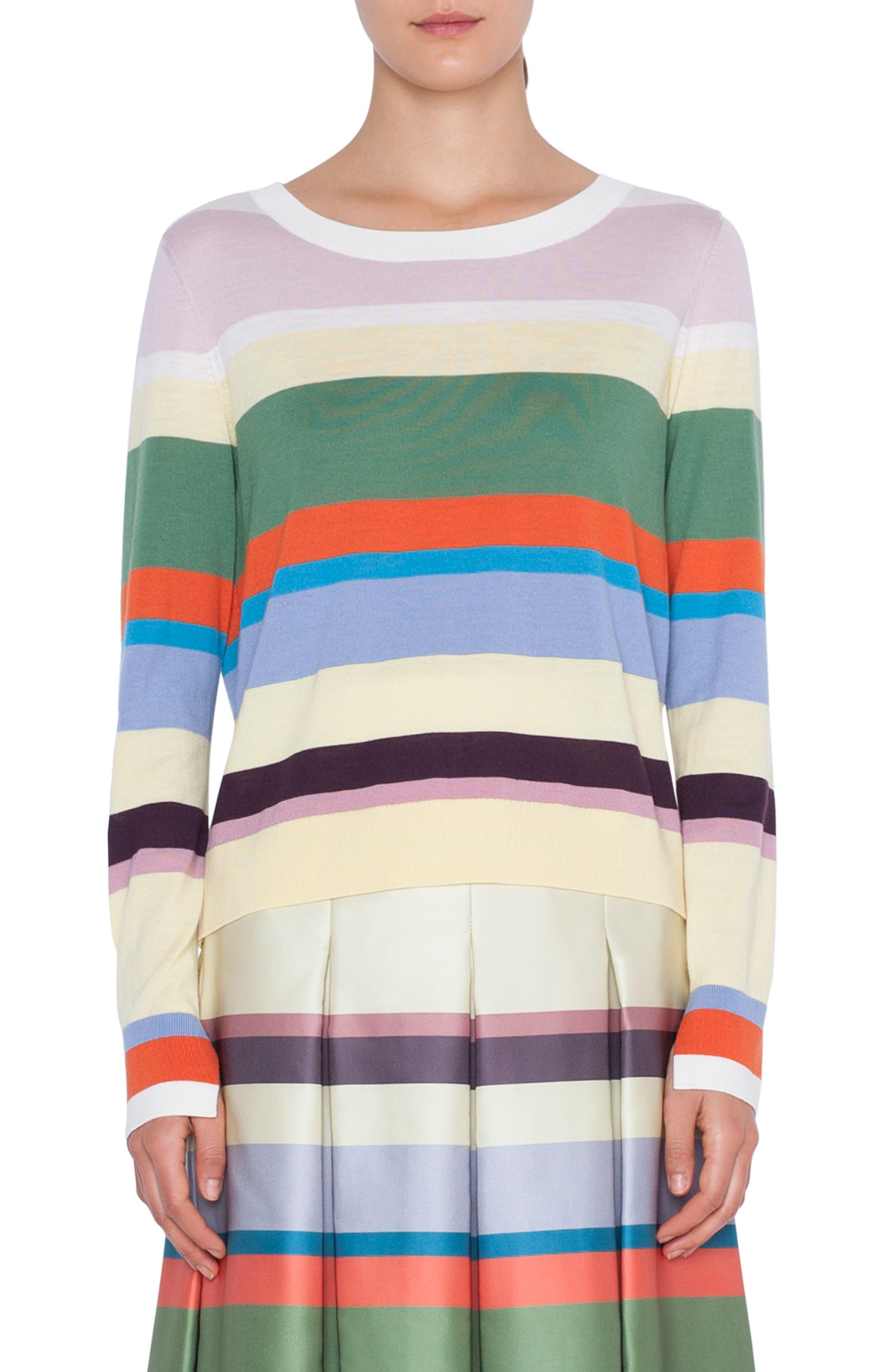 Akris Punto Memphis Glass Stripe Wool Sweater, White