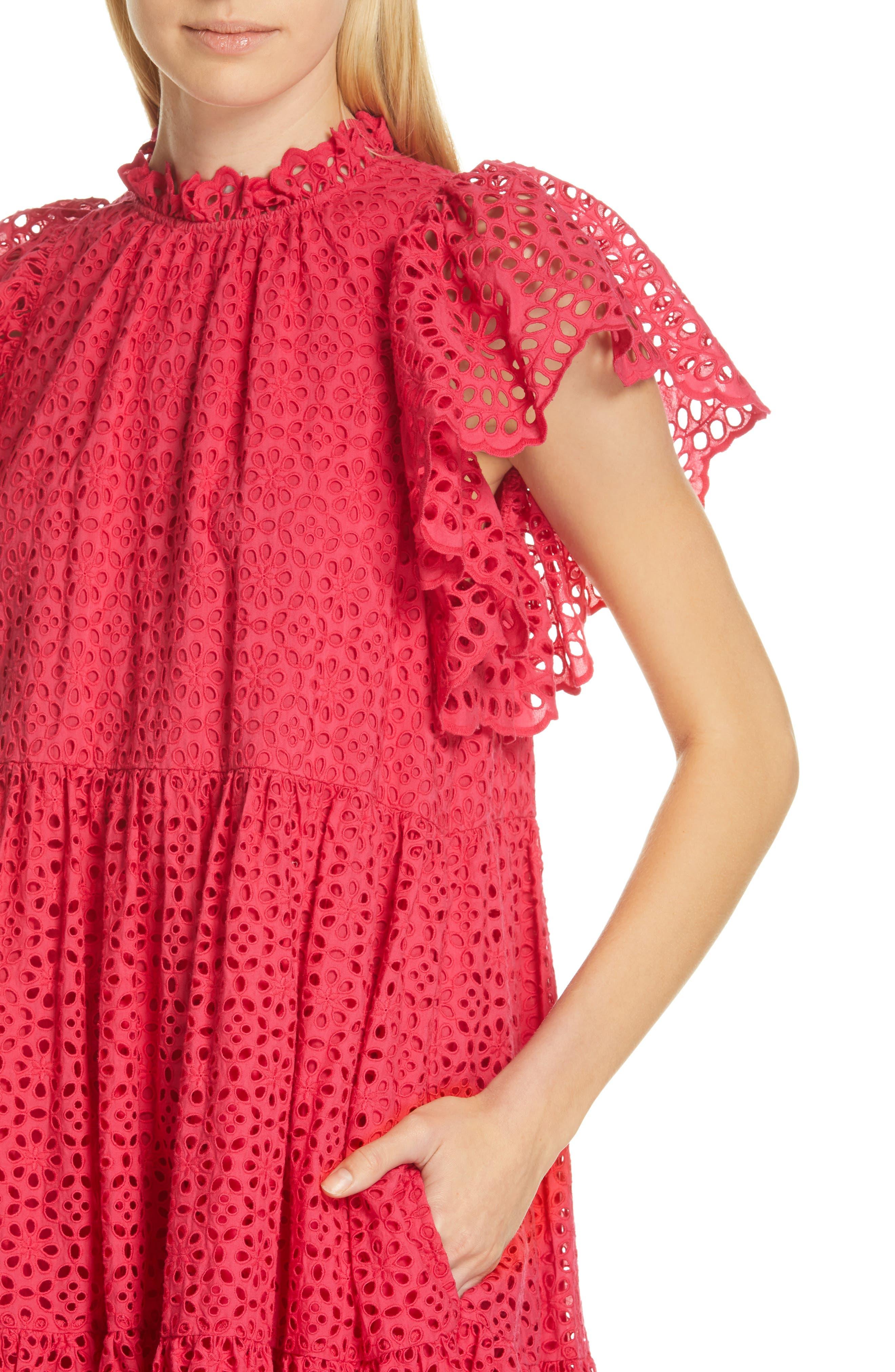 ULLA JOHNSON, Norah Eyelet Dress, Alternate thumbnail 5, color, FUCHSIA