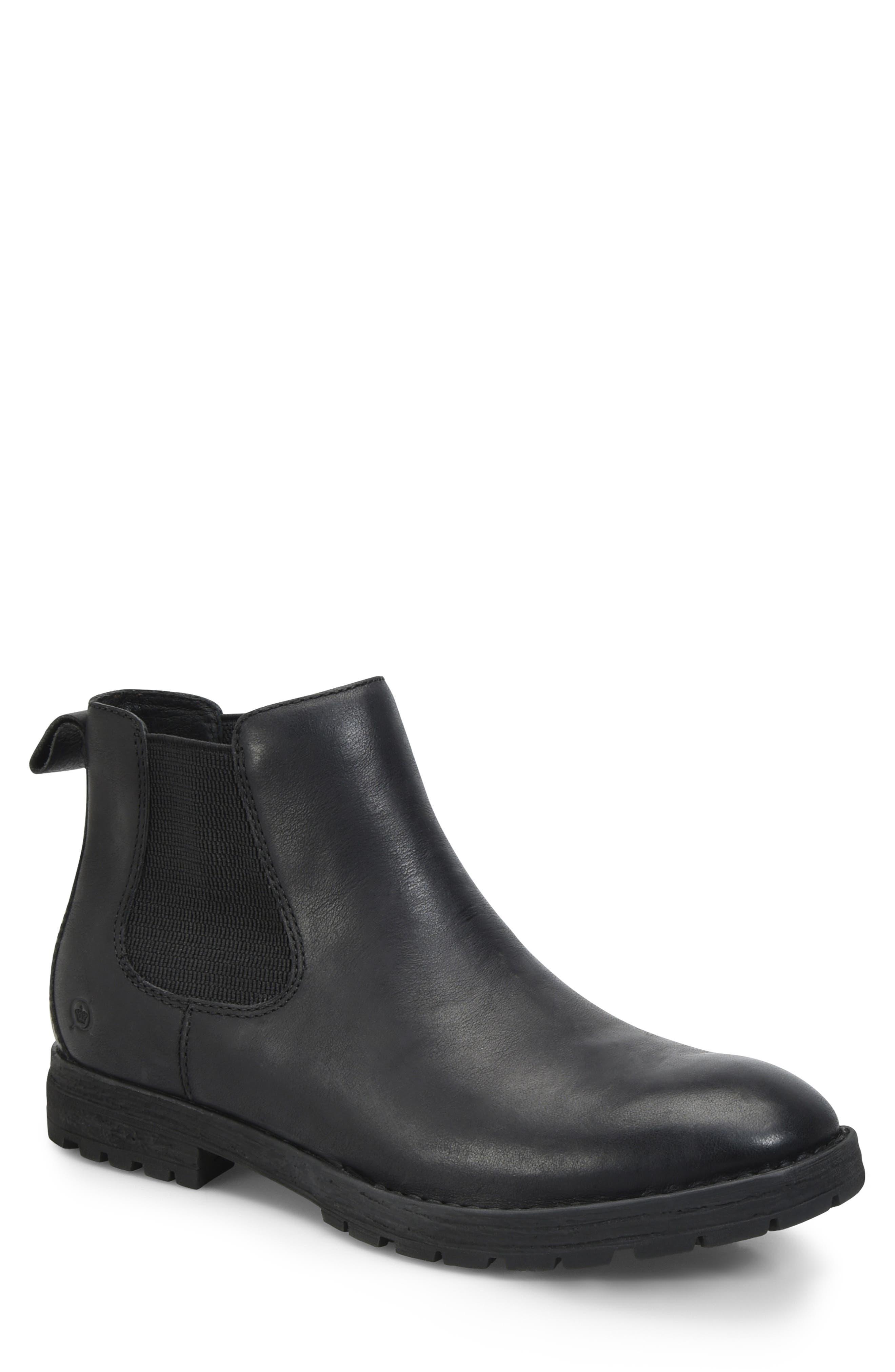 BØRN Luc Chelsea Boot, Main, color, BLACK LEATHER