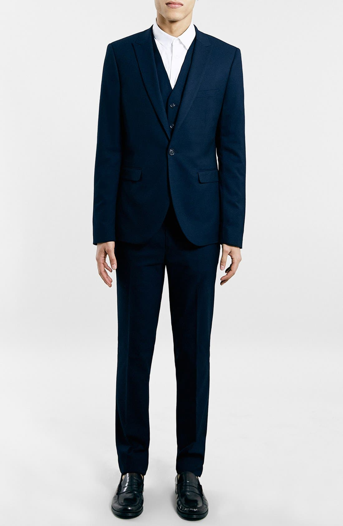 TOPMAN, Navy Textured Skinny Fit Suit Jacket, Alternate thumbnail 3, color, 410