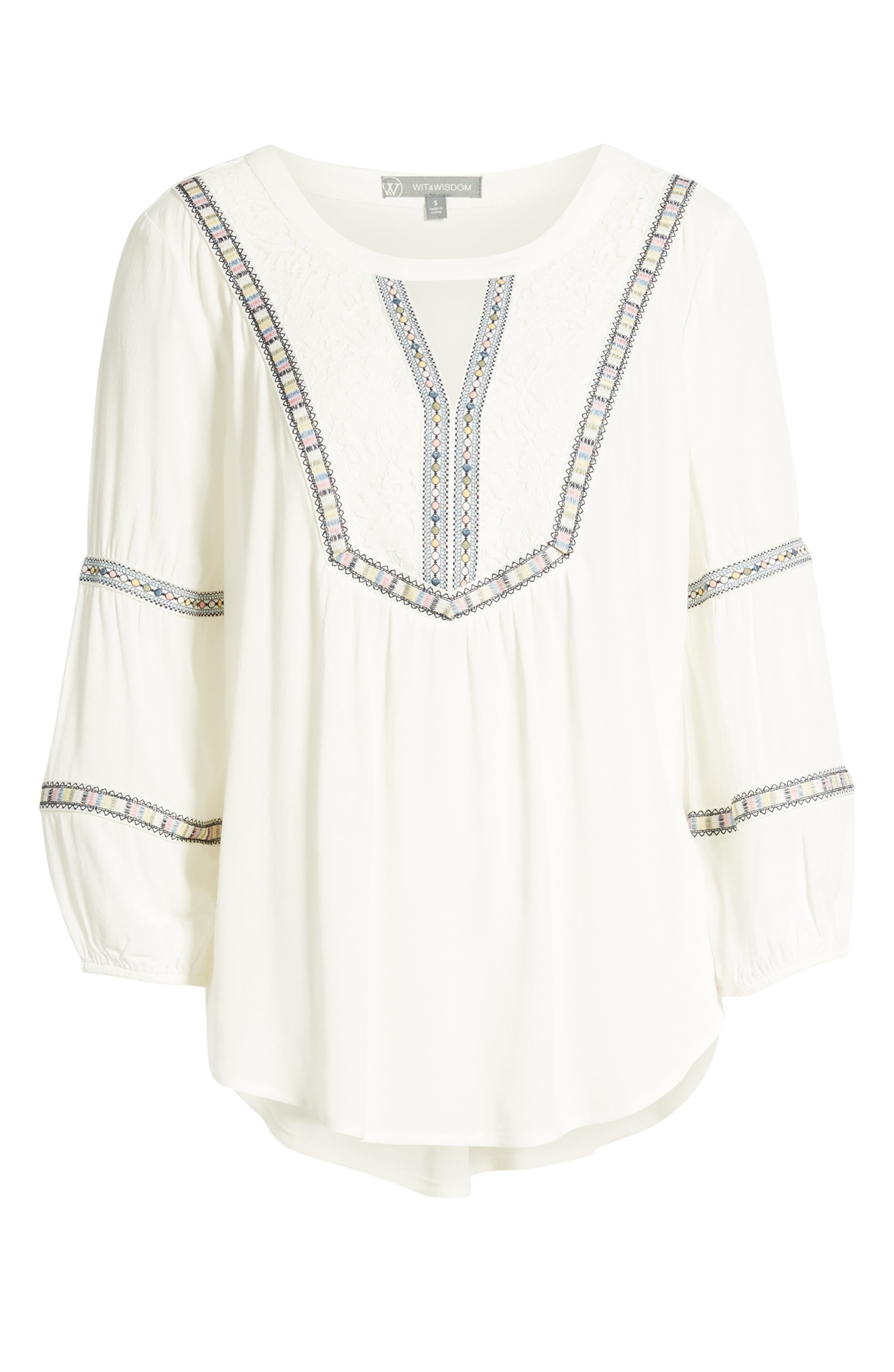 WIT & WISDOM, Embroidered Tunic, Alternate thumbnail 6, color, OFF WHITE