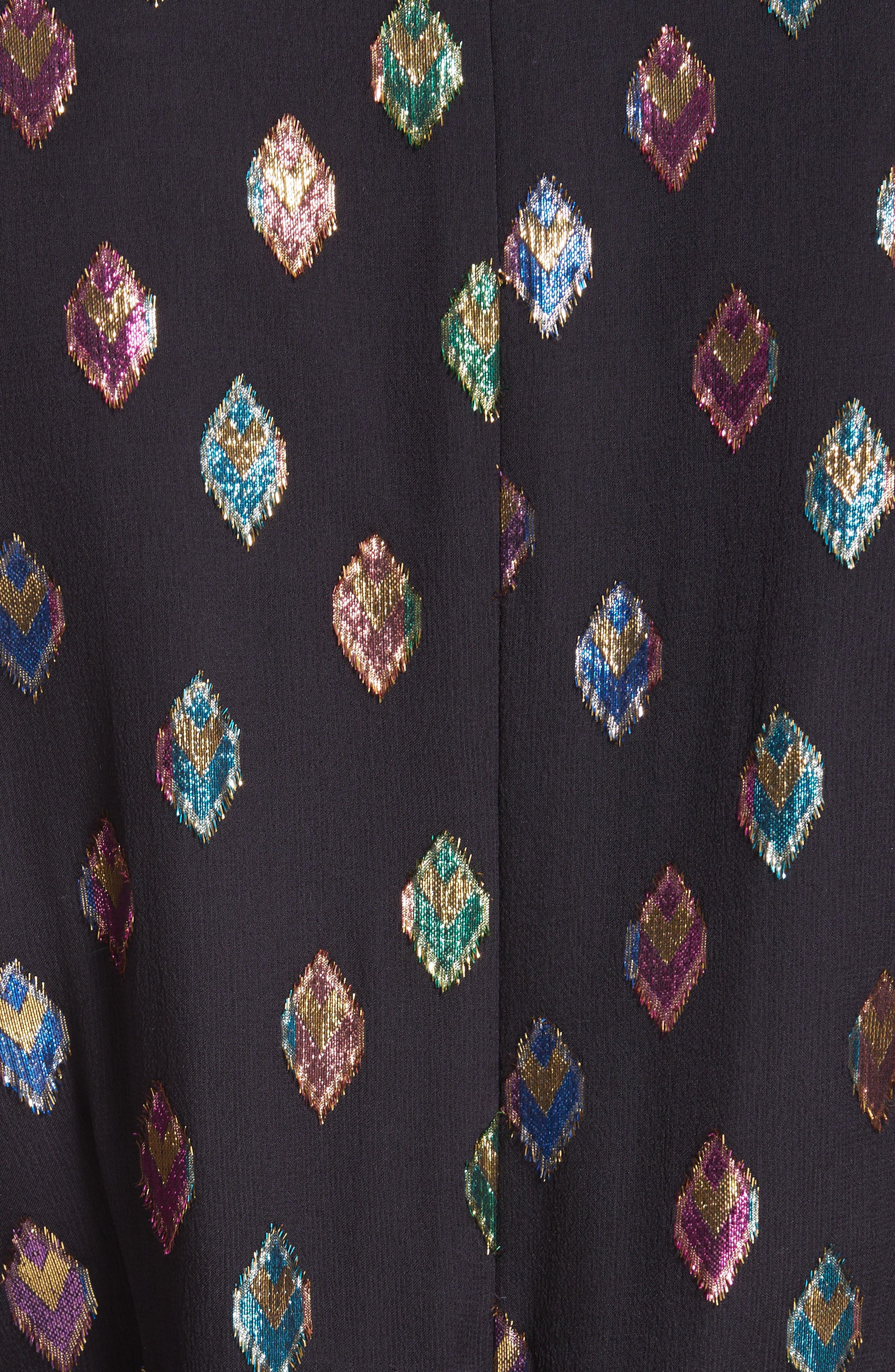 SALONI, Marissa Metallic Fil Coupé Silk Blend Minidress, Alternate thumbnail 5, color, 003