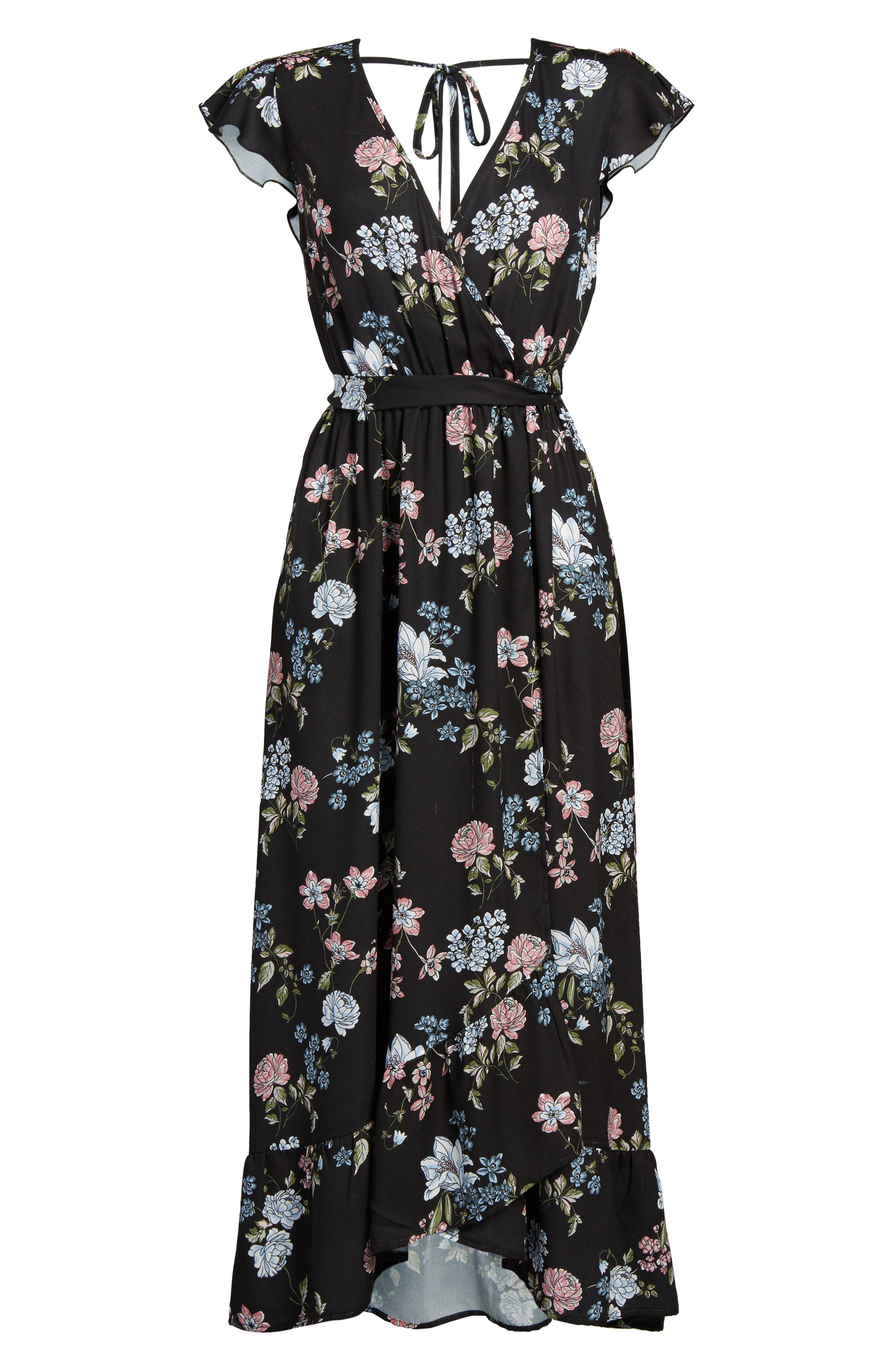 BAND OF GYPSIES, Faux Wrap Maxi Dress, Alternate thumbnail 6, color, 004