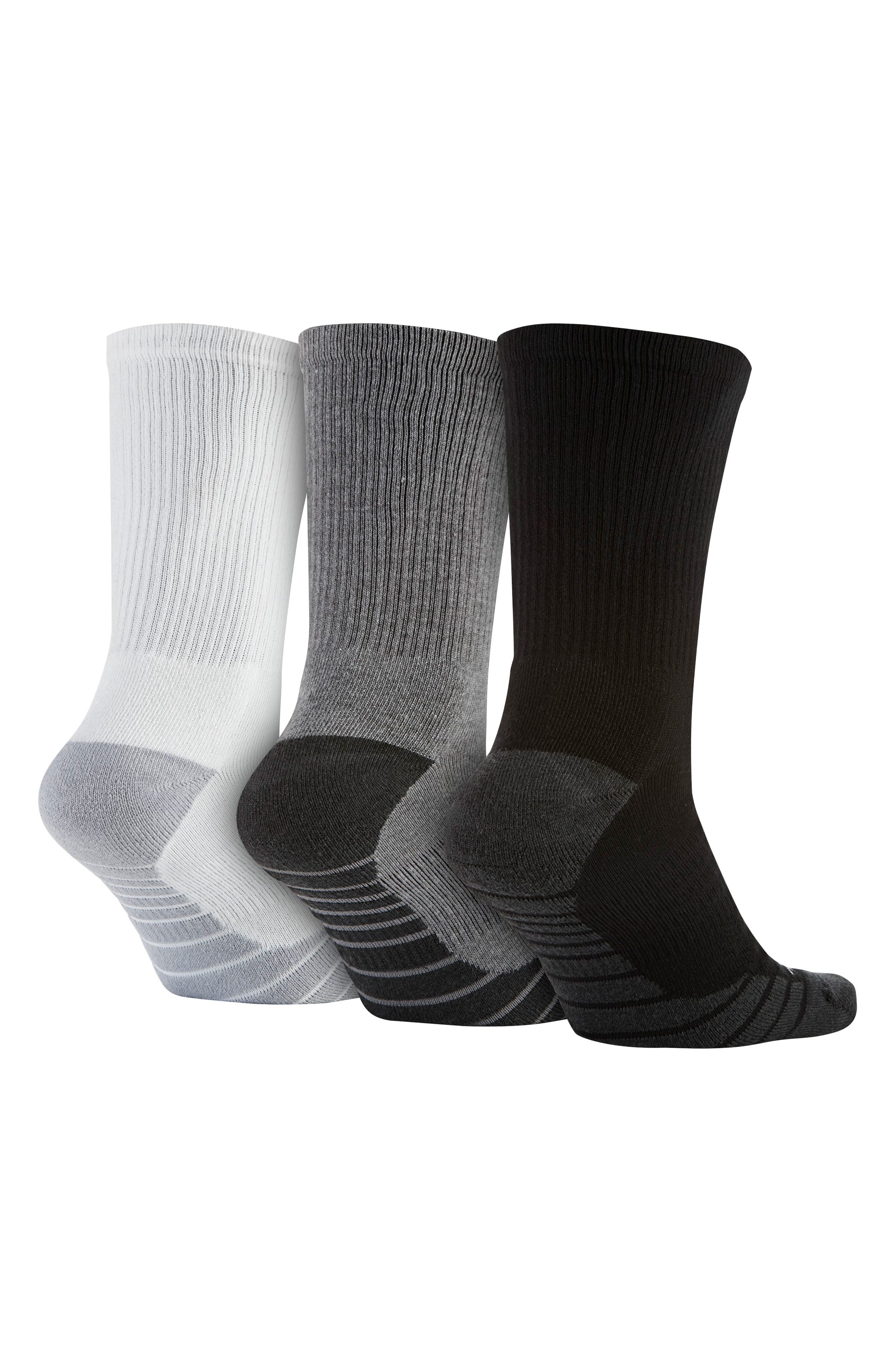 NIKE, Everyday Max Cushion 3-Pack Crew Socks, Alternate thumbnail 2, color, BLACK/ WHITE