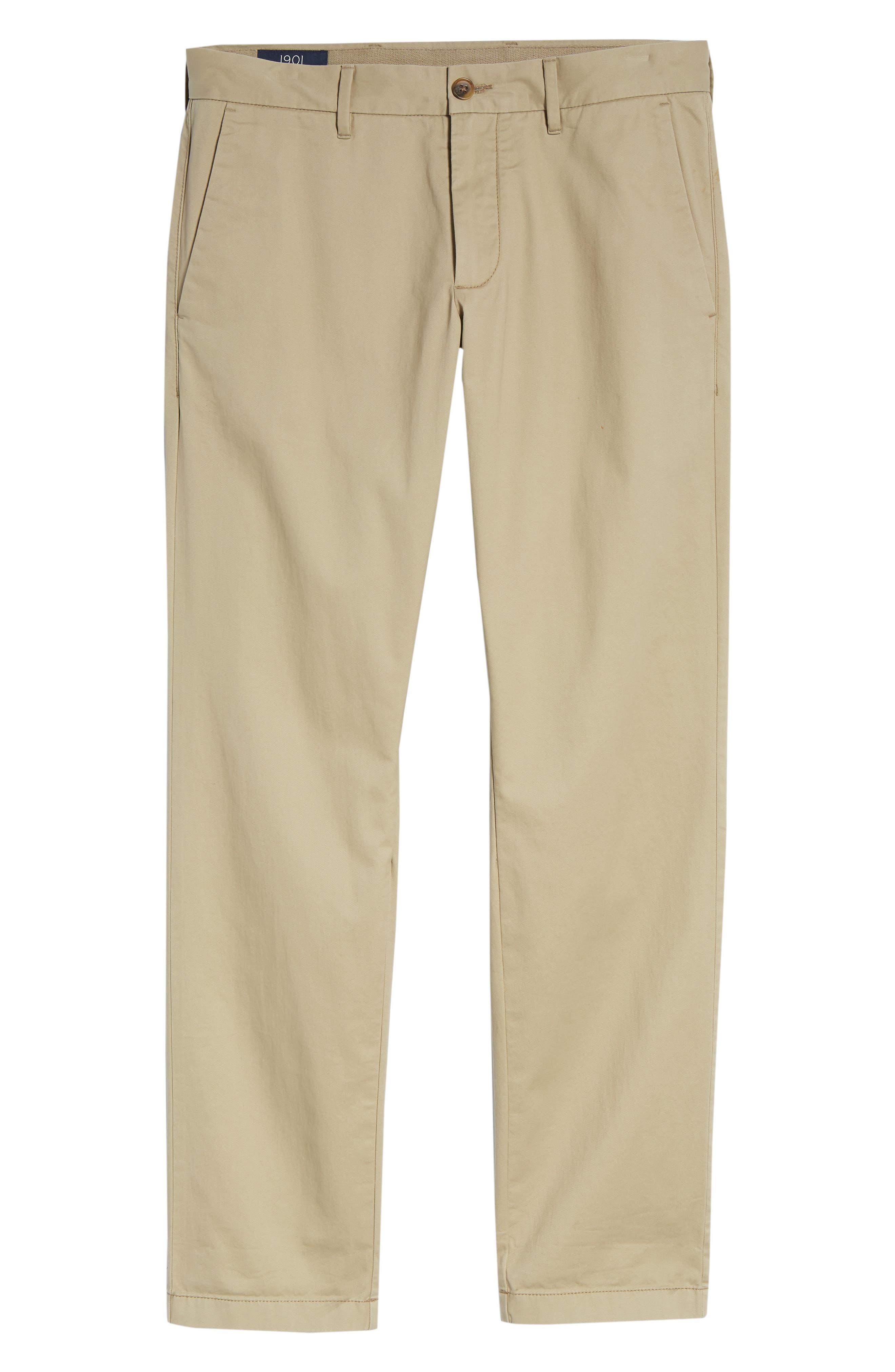 1901, Ballard Slim Fit Stretch Chino Pants, Alternate thumbnail 7, color, TAN BURROW