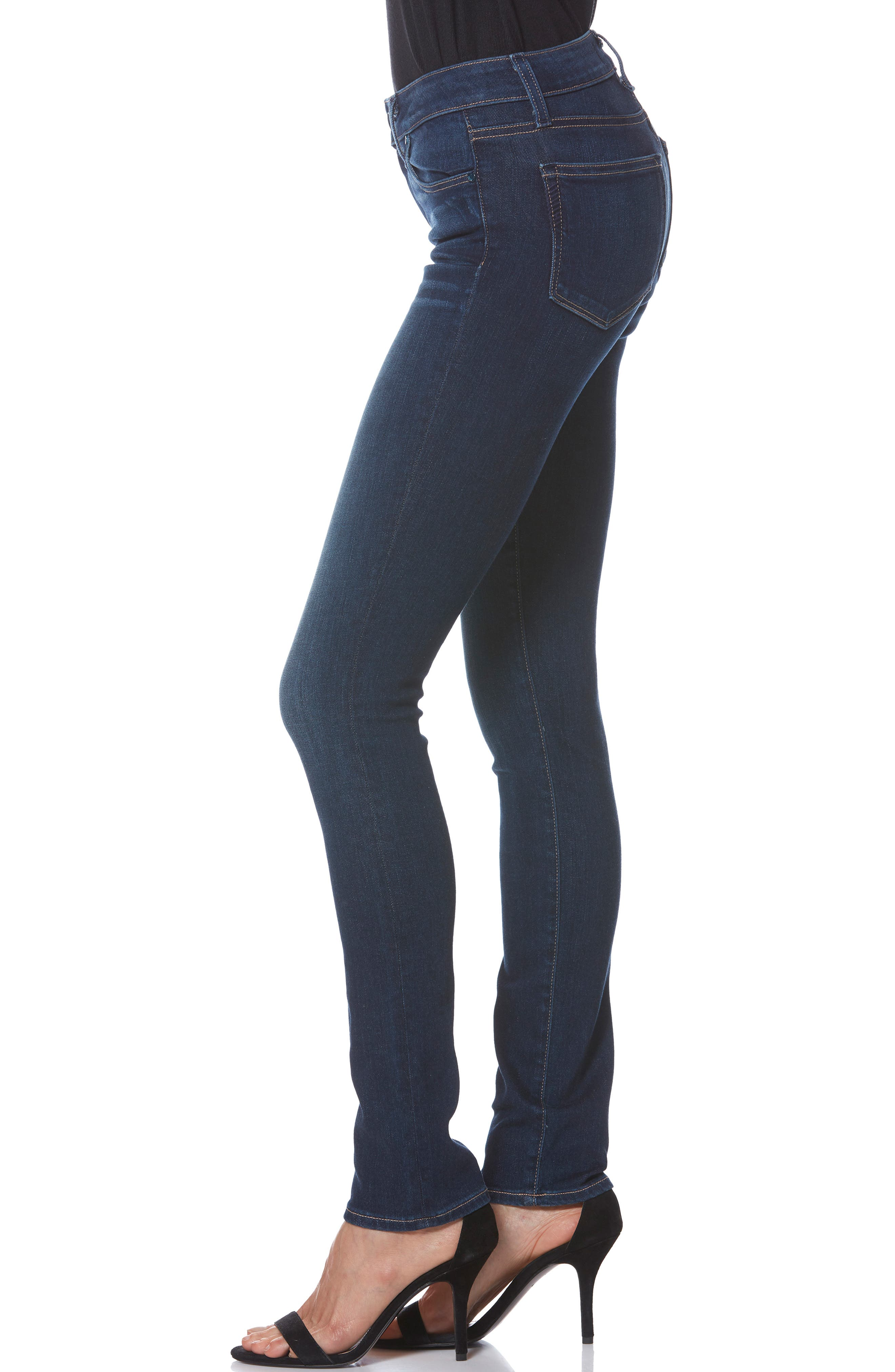 PAIGE, Skyline Skinny Jeans, Alternate thumbnail 4, color, IDLEWILD