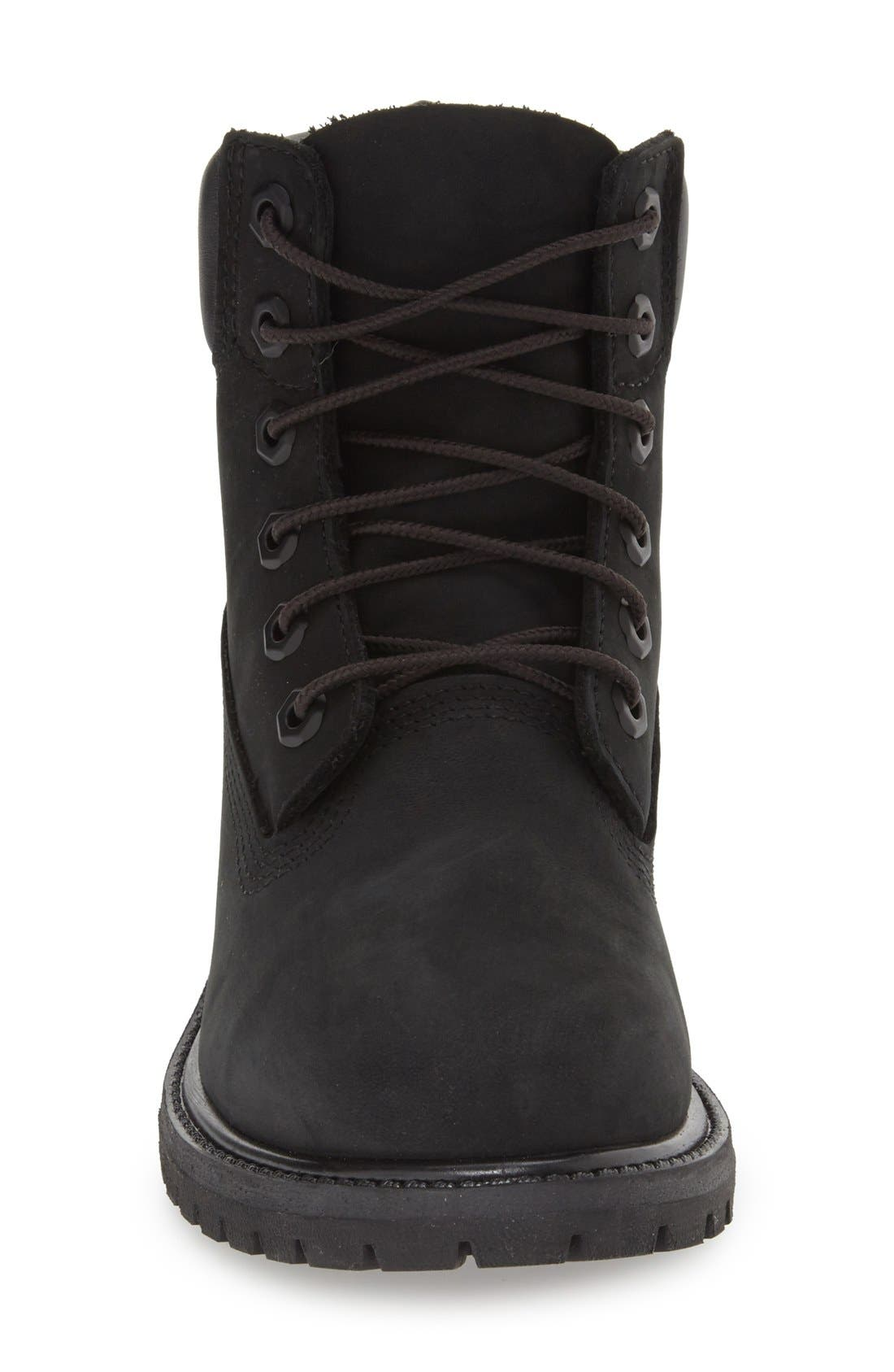 TIMBERLAND, 6 Inch Premium Waterproof Boot, Alternate thumbnail 4, color, BLACK NUBUCK LEATHER