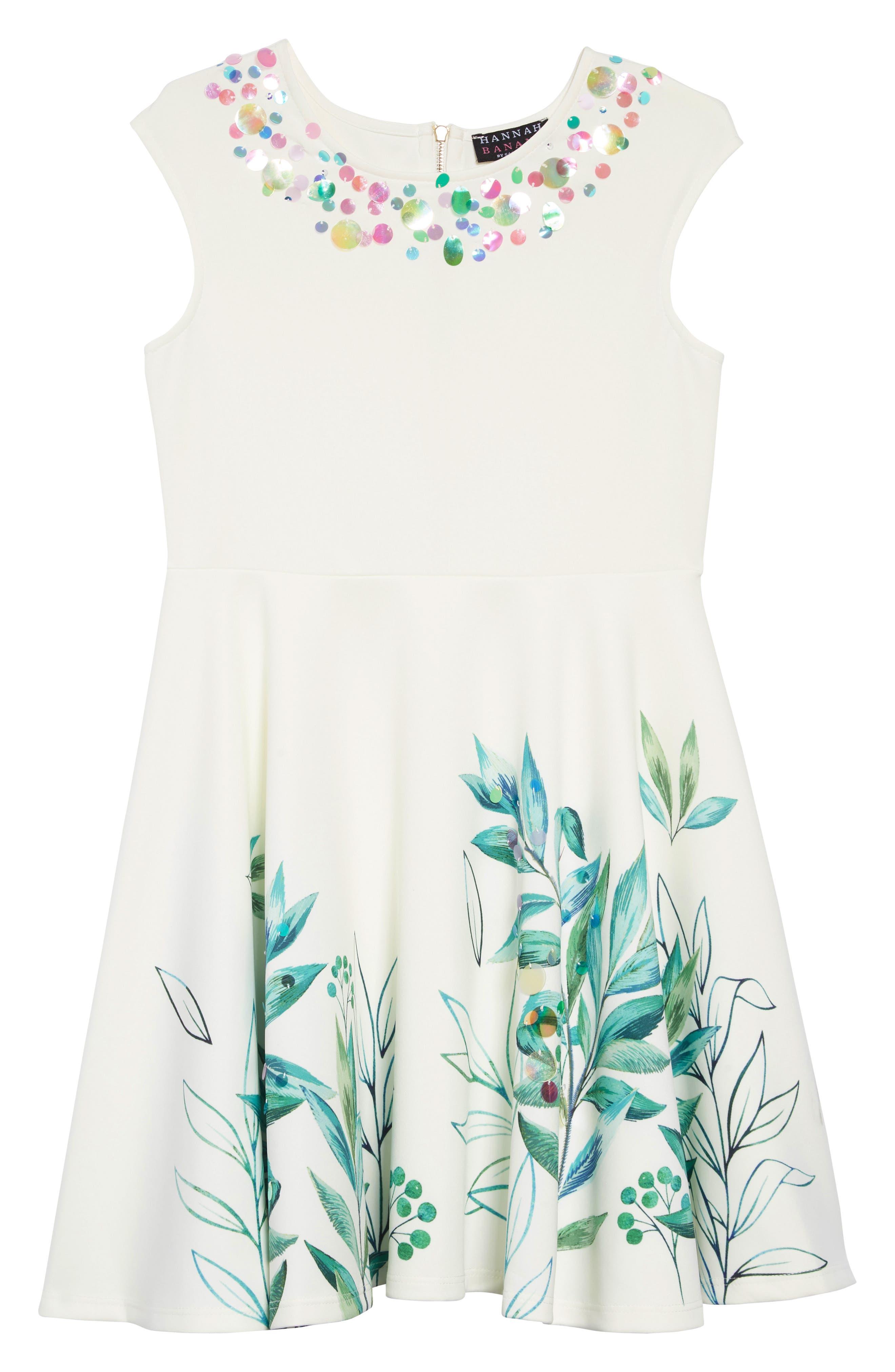 HANNAH BANANA, Leafy Print Embellished Dress, Main thumbnail 1, color, 100