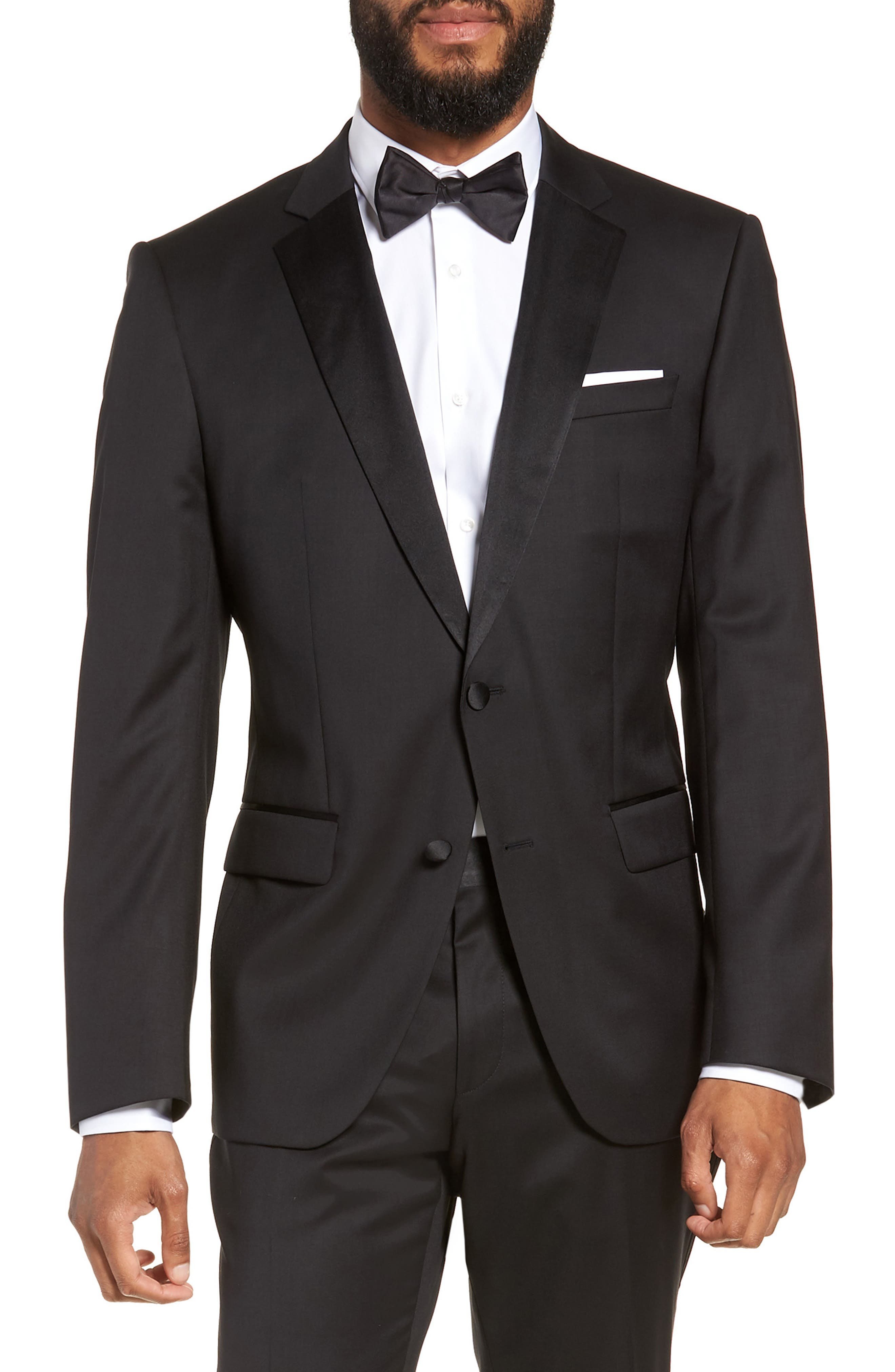 BOSS, Halven/Gentry Slim Fit Wool Tuxedo, Alternate thumbnail 5, color, BLACK