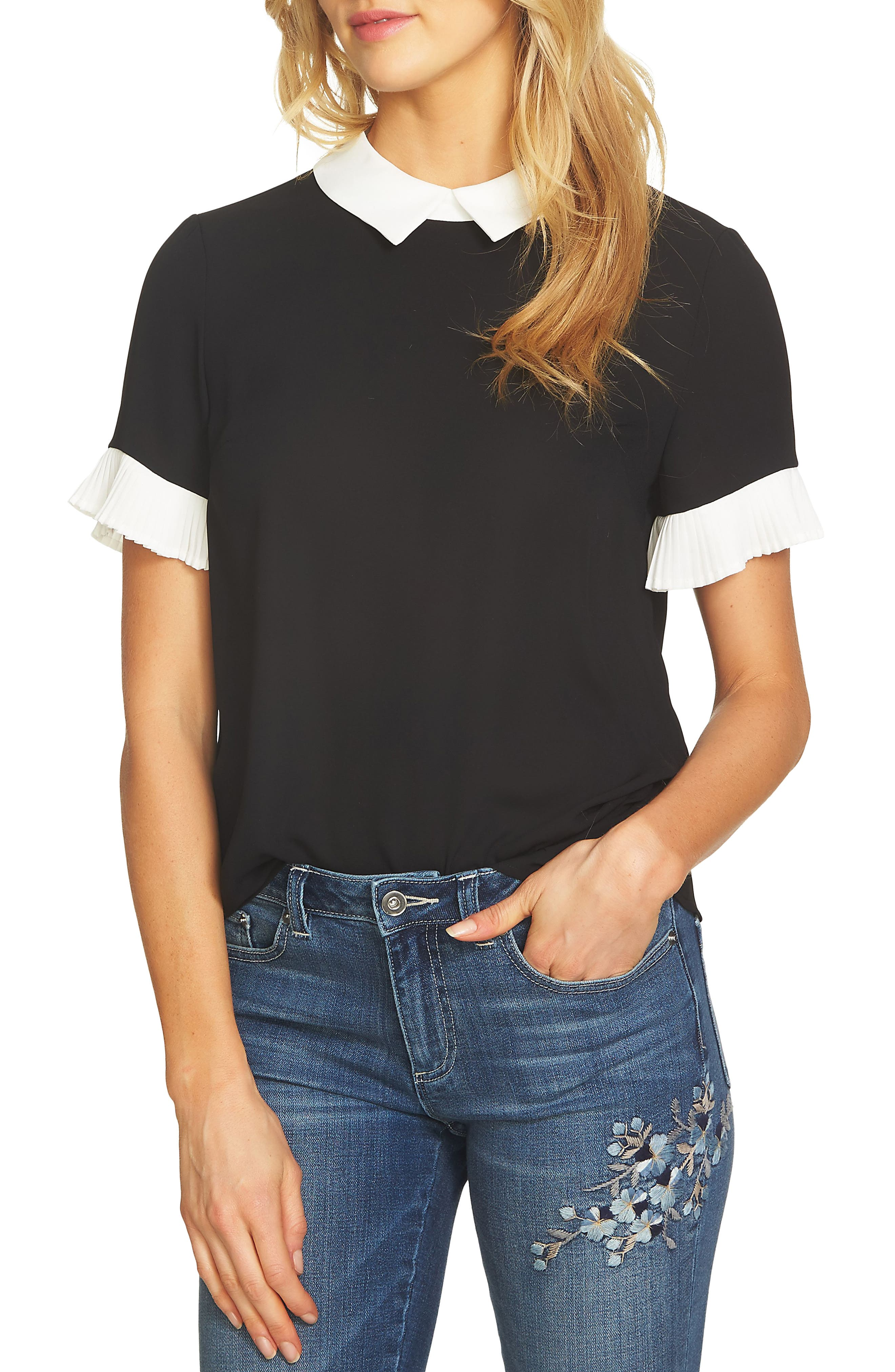 CECE Pleat Sleeve Collared Crepe Blouse, Main, color, RICH BLACK