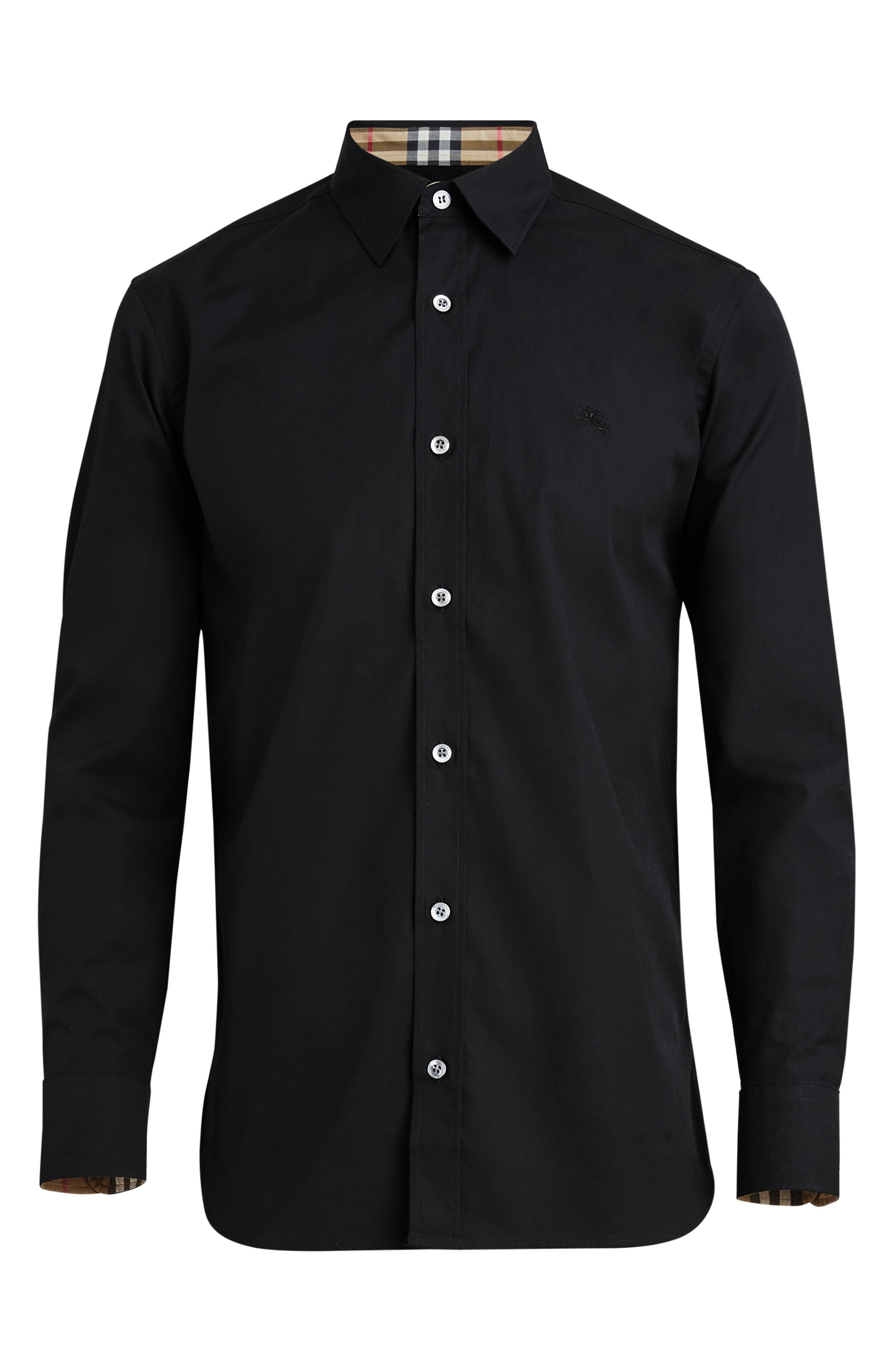 BURBERRY, William Stretch Poplin Sport Shirt, Alternate thumbnail 4, color, BLACK
