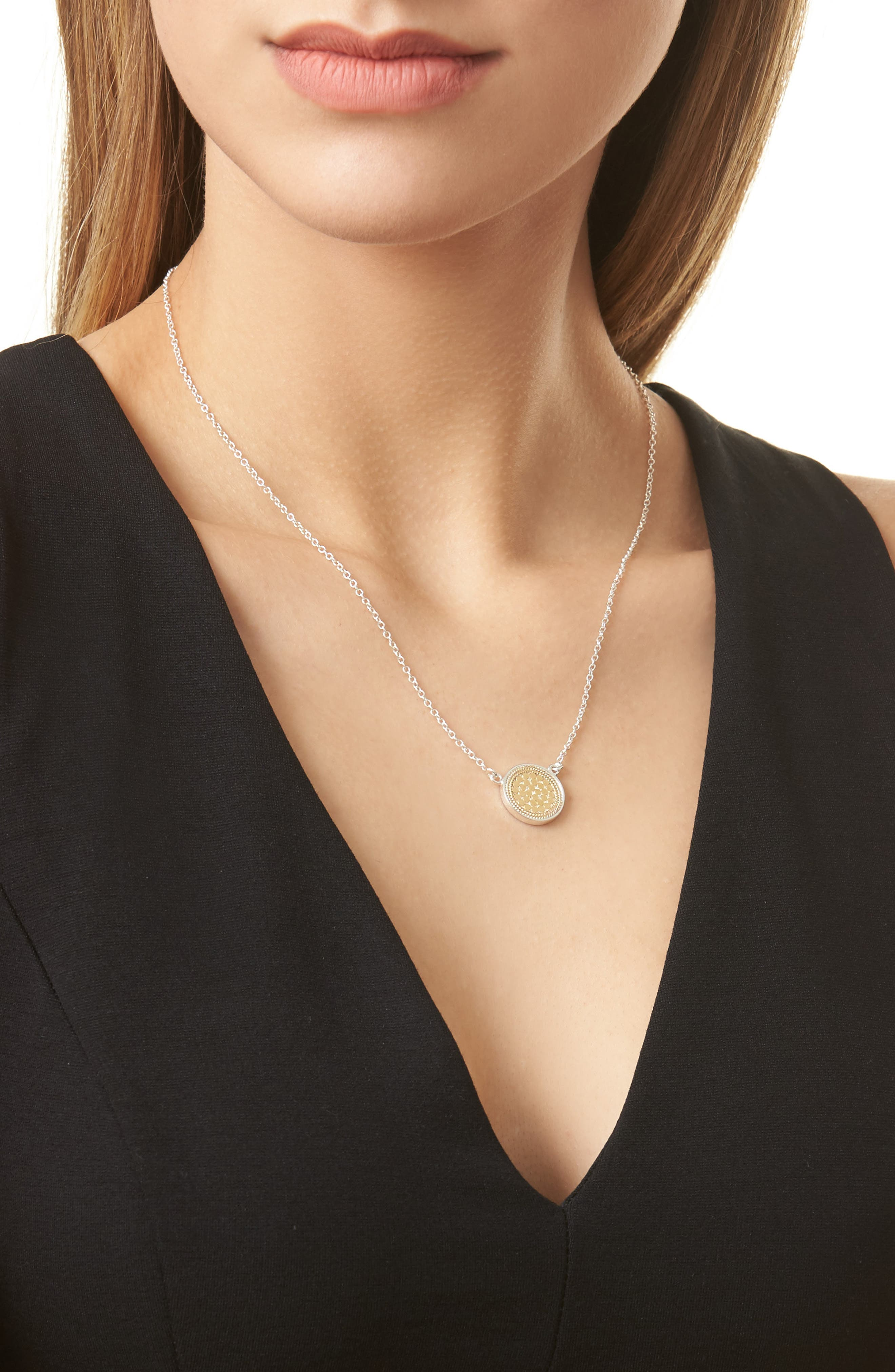ANNA BECK, Reversible Disc Necklace, Alternate thumbnail 2, color, GOLD/ SILVER