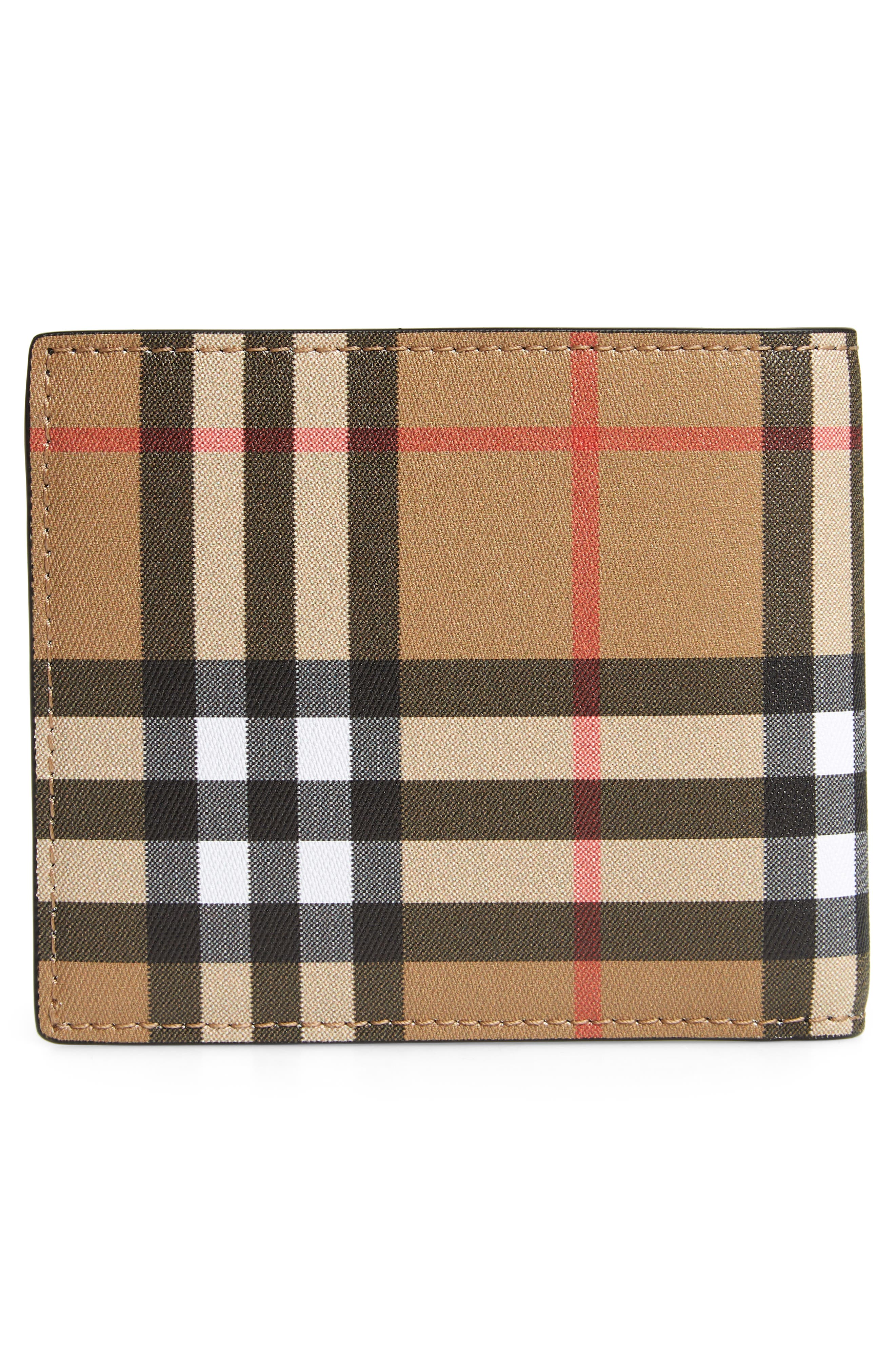 BURBERRY, Horseferry Leather Wallet, Alternate thumbnail 3, color, 001