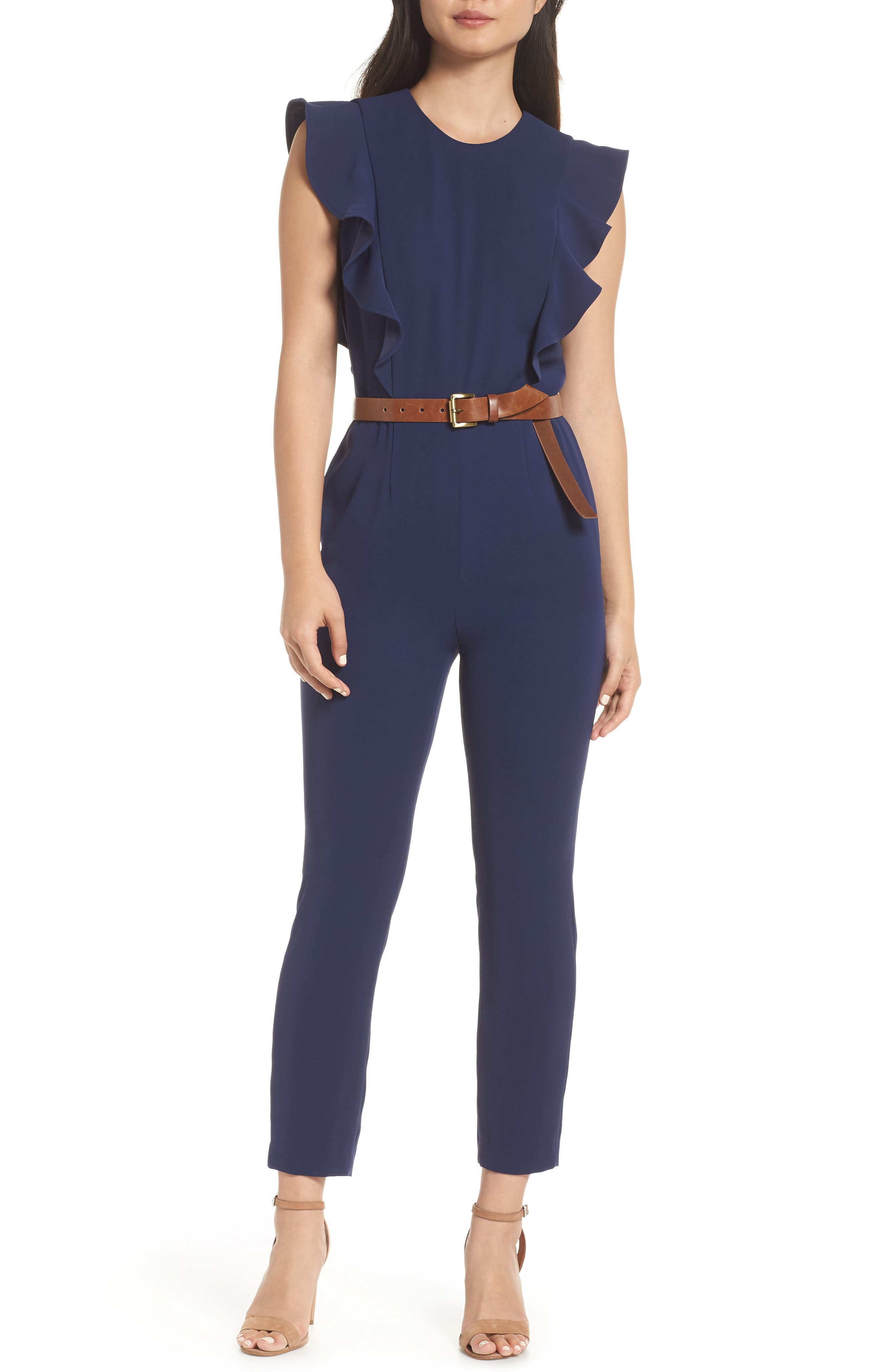 MICHAEL MICHAEL KORS Belted Ruffle Jumpsuit, Main, color, 400