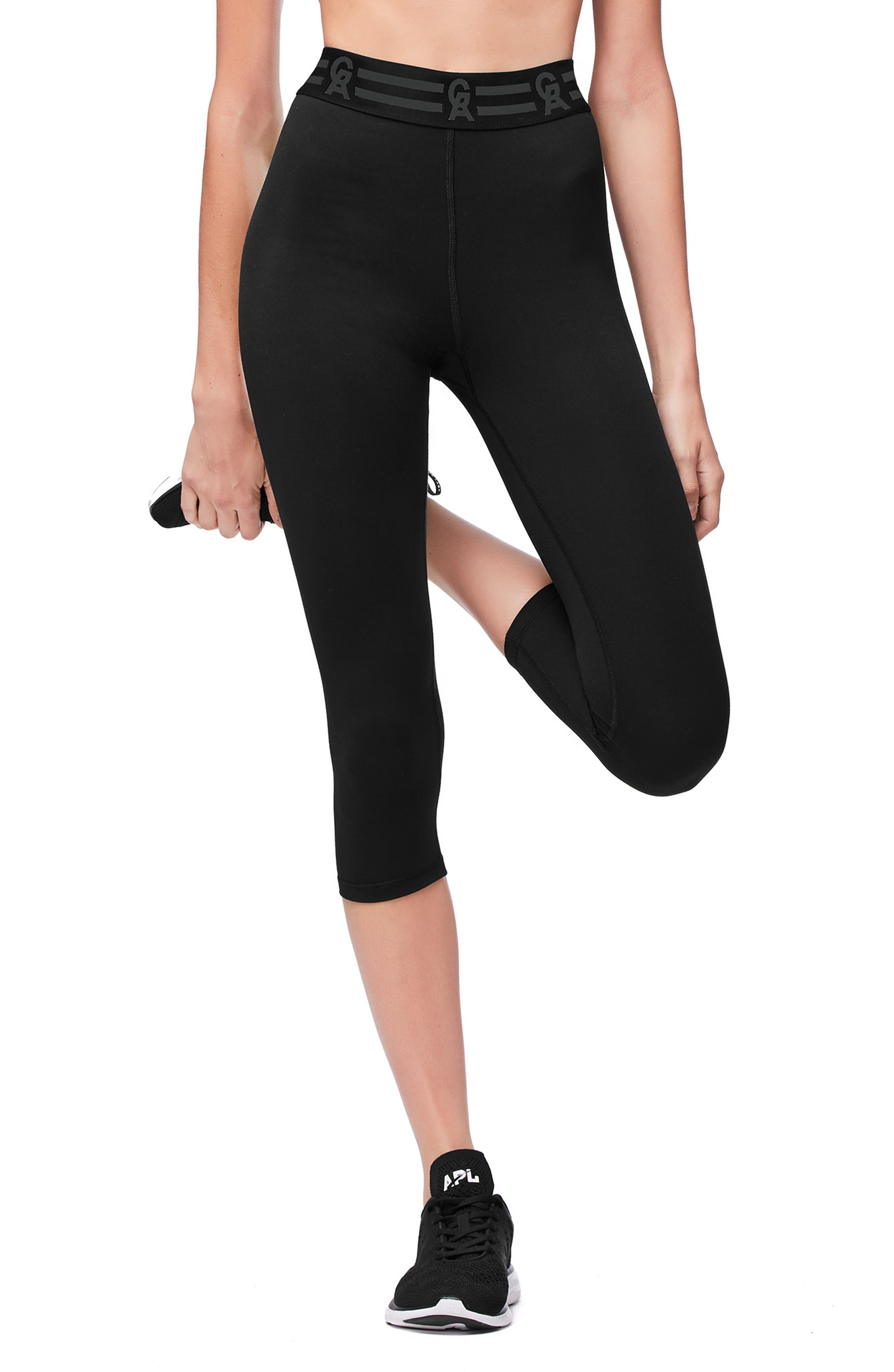 GOOD AMERICAN Icon Crop Leggings, Main, color, BLACK001