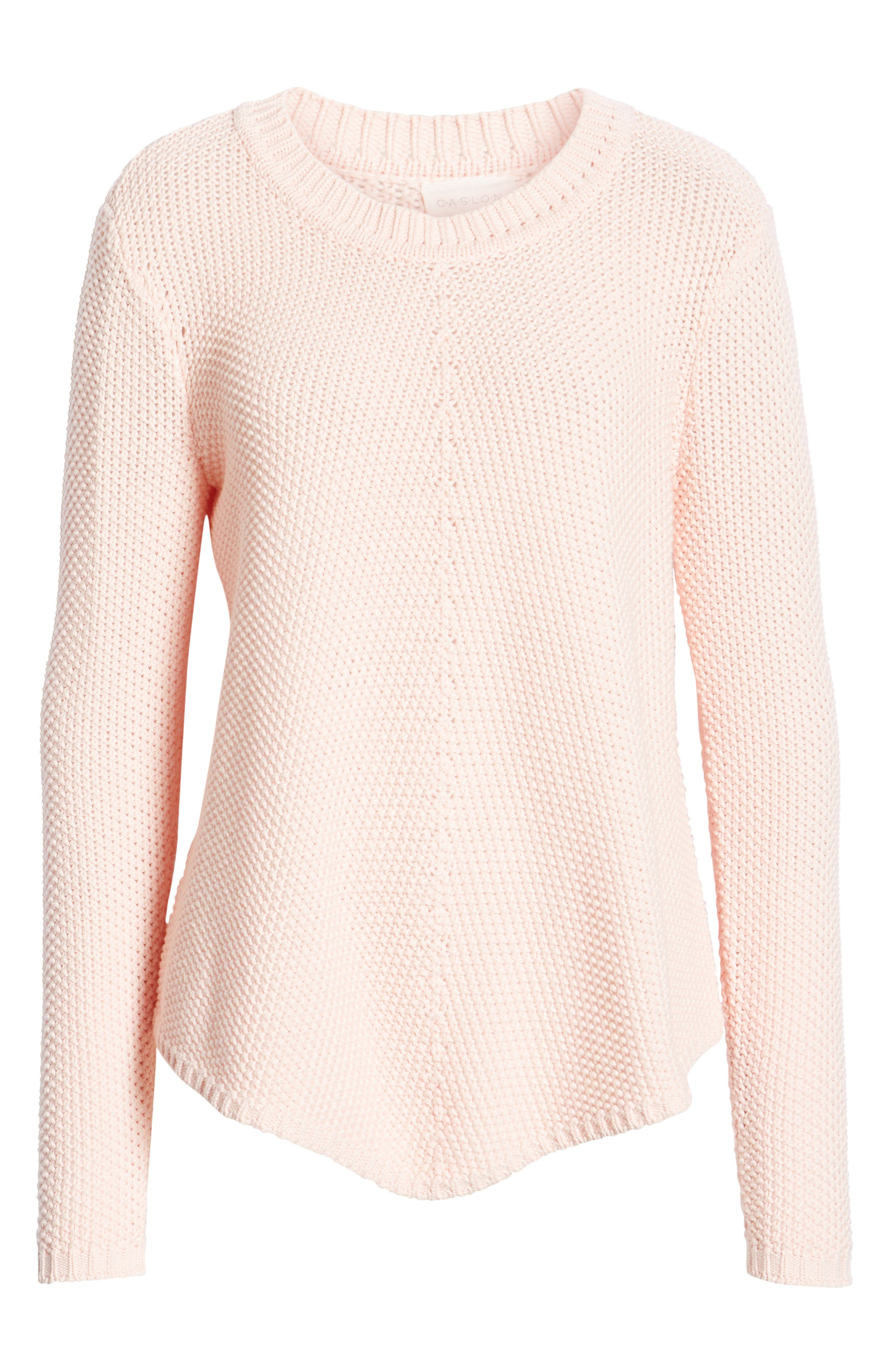 CASLON<SUP>®</SUP>, Stitch Stripe Sweater, Alternate thumbnail 6, color, PINK CHINTZ