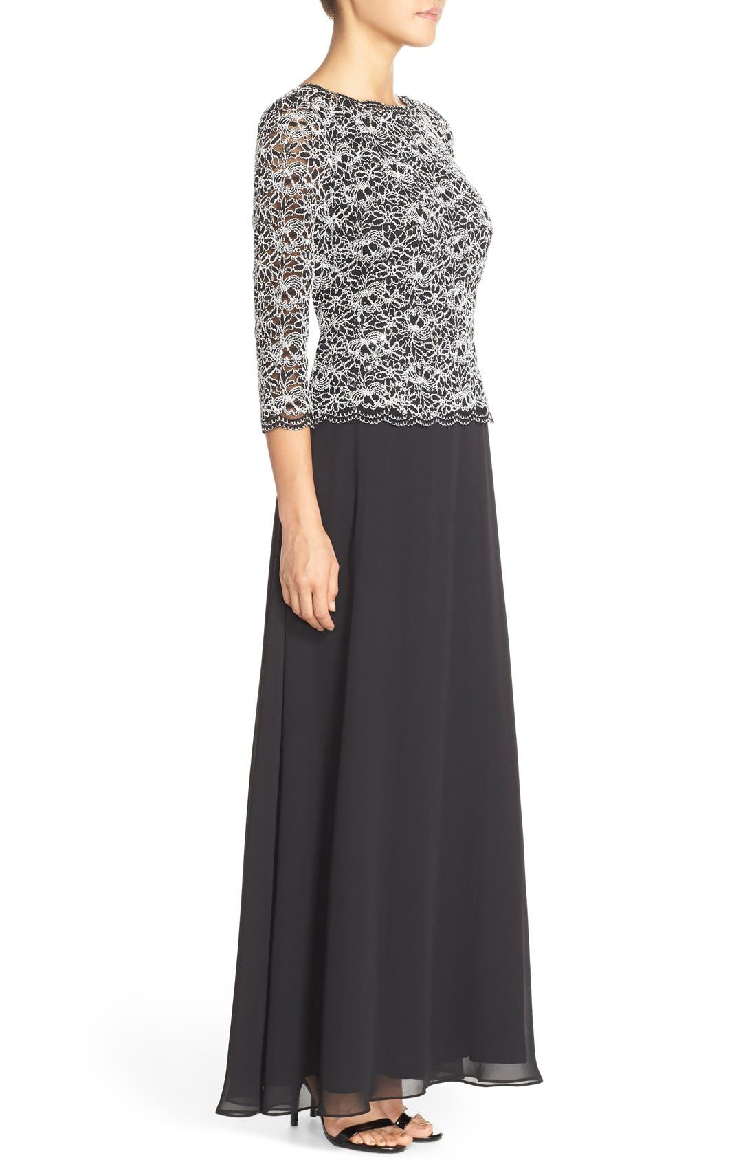 ALEX EVENINGS, Lace & Chiffon Mock Two-Piece Gown, Alternate thumbnail 5, color, BLACK/ WHITE