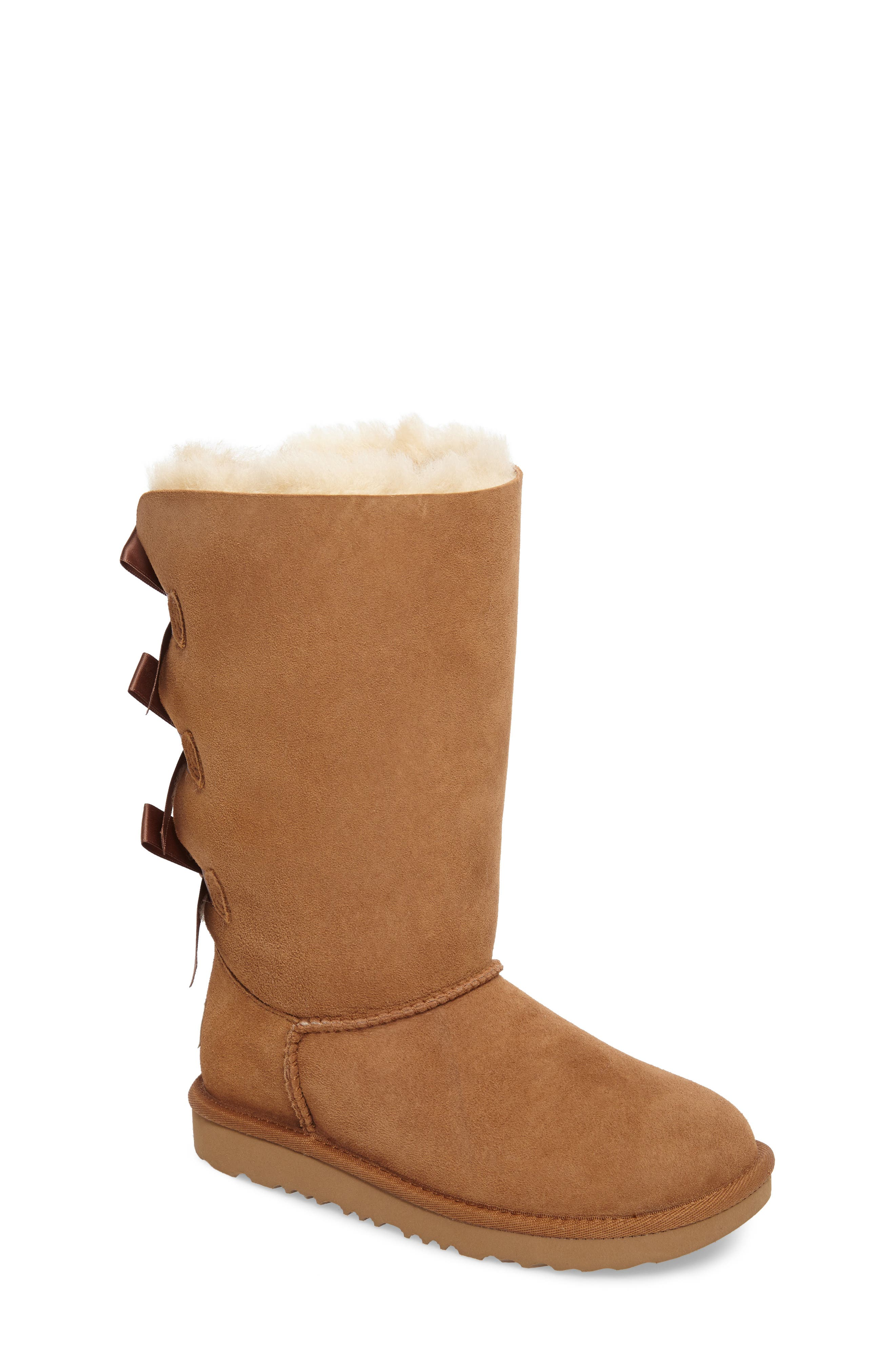 UGG<SUP>®</SUP>, Bailey Bow Tall II Water Resistant Genuine Shearling Boot, Main thumbnail 1, color, CHESTNUT BROWN