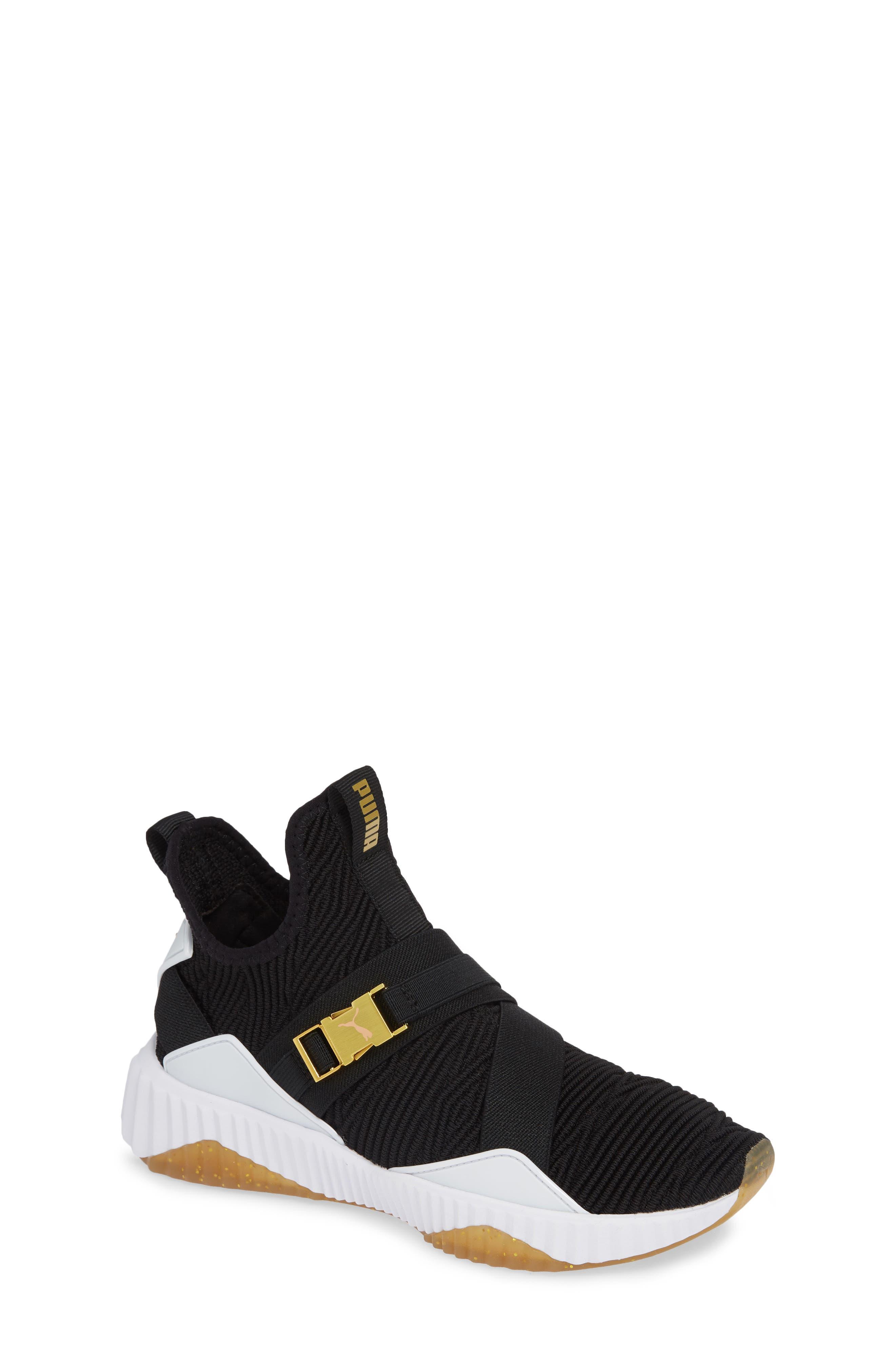 PUMA, Defy Mid Varsity Sneaker, Main thumbnail 1, color, BLACK/ METALLIC GOLD