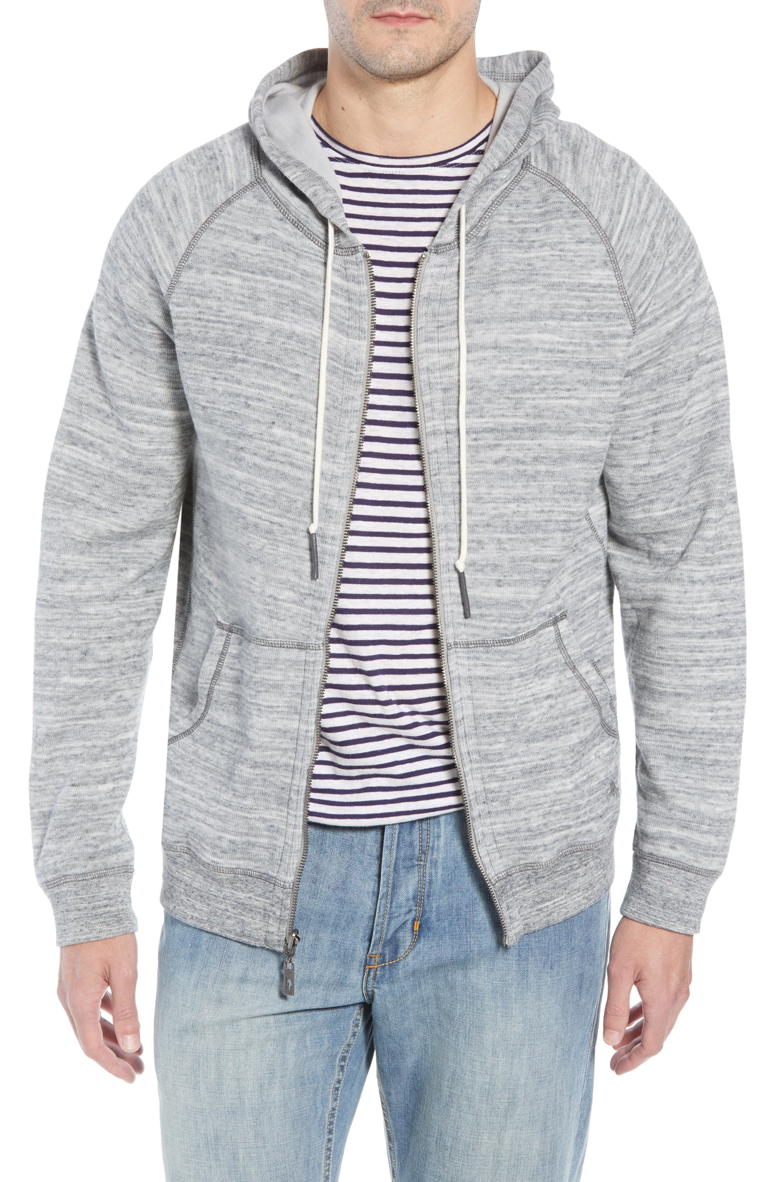 TOMMY BAHAMA, Flip Reversible Zip Hoodie, Main thumbnail 1, color, GREY HEATHER