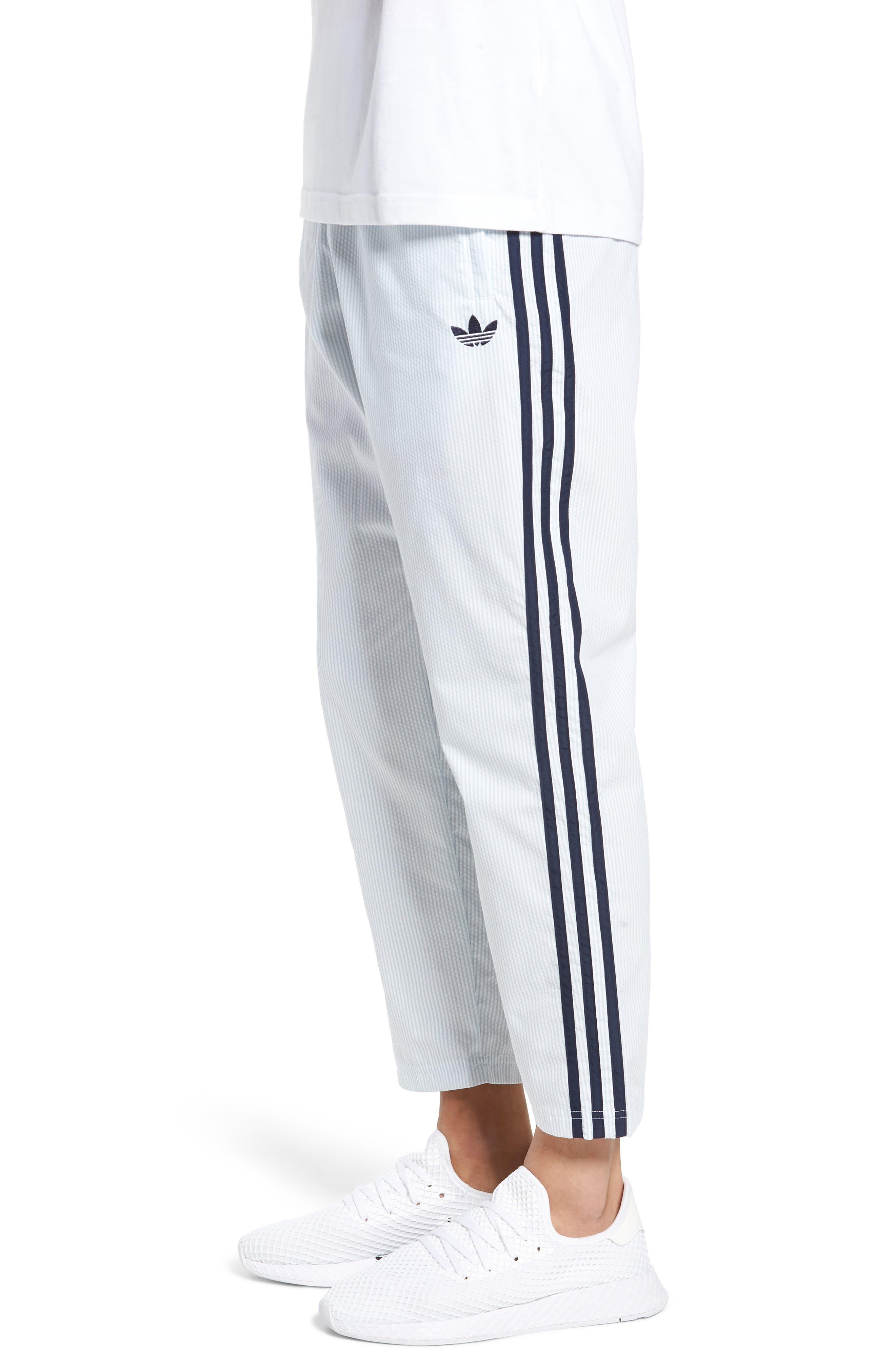 ADIDAS ORIGINALS, Seersucker Track Pants, Alternate thumbnail 4, color, ASH GREY/ WHITE