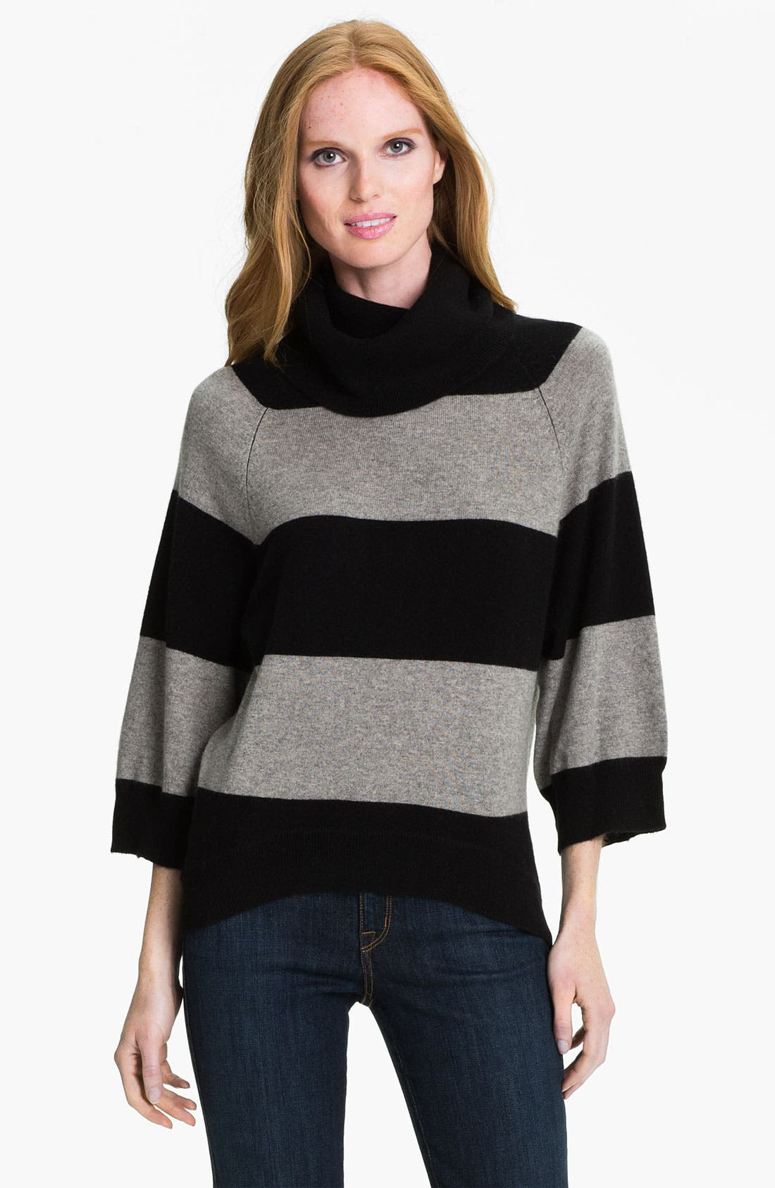 PURE AMICI, Stripe Cashmere Tunic, Main thumbnail 1, color, 001
