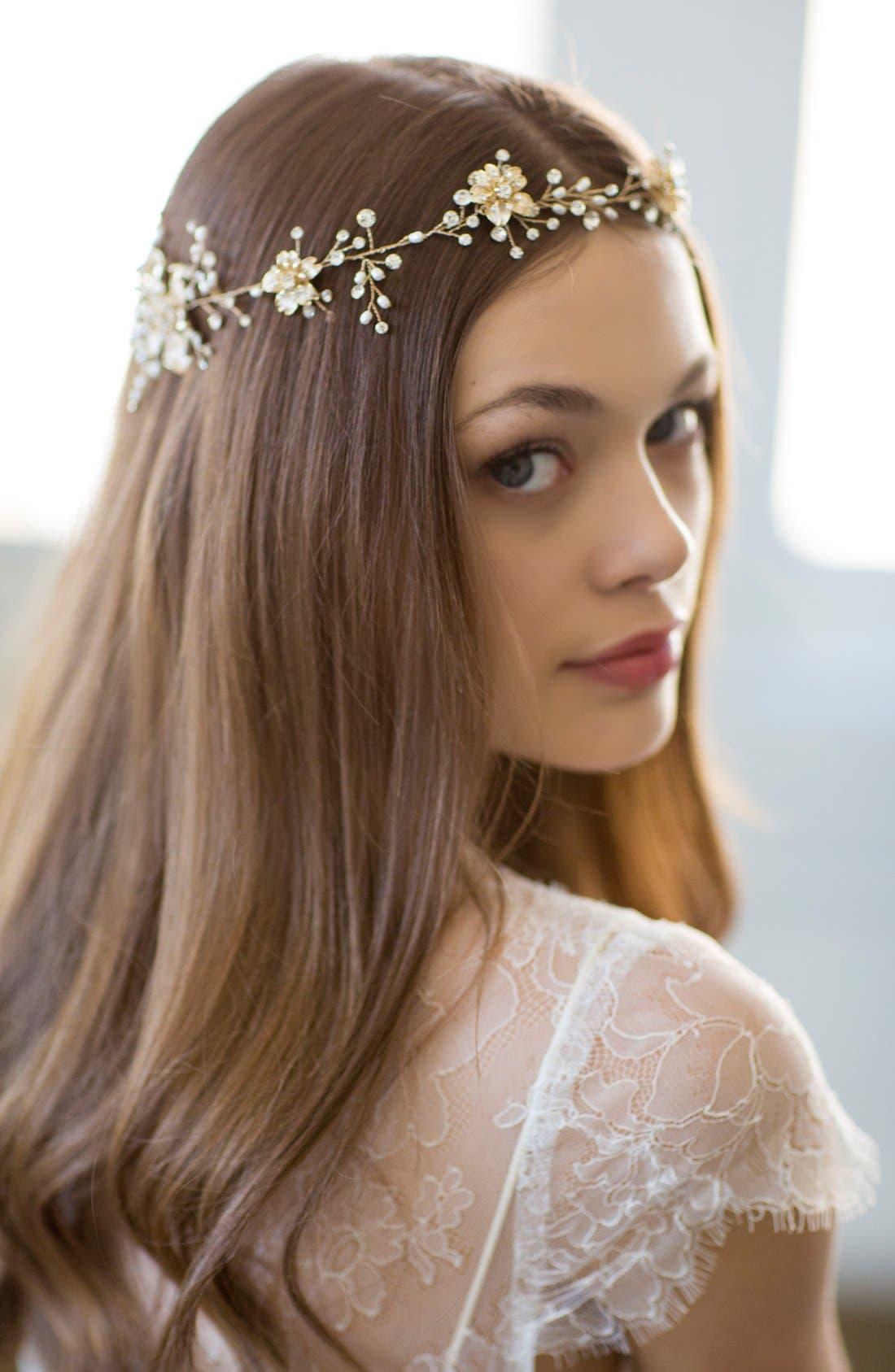 BRIDES & HAIRPINS, Atiena Embellished Floral Motif Halo & Sash, Alternate thumbnail 5, color, 14 K GOLD
