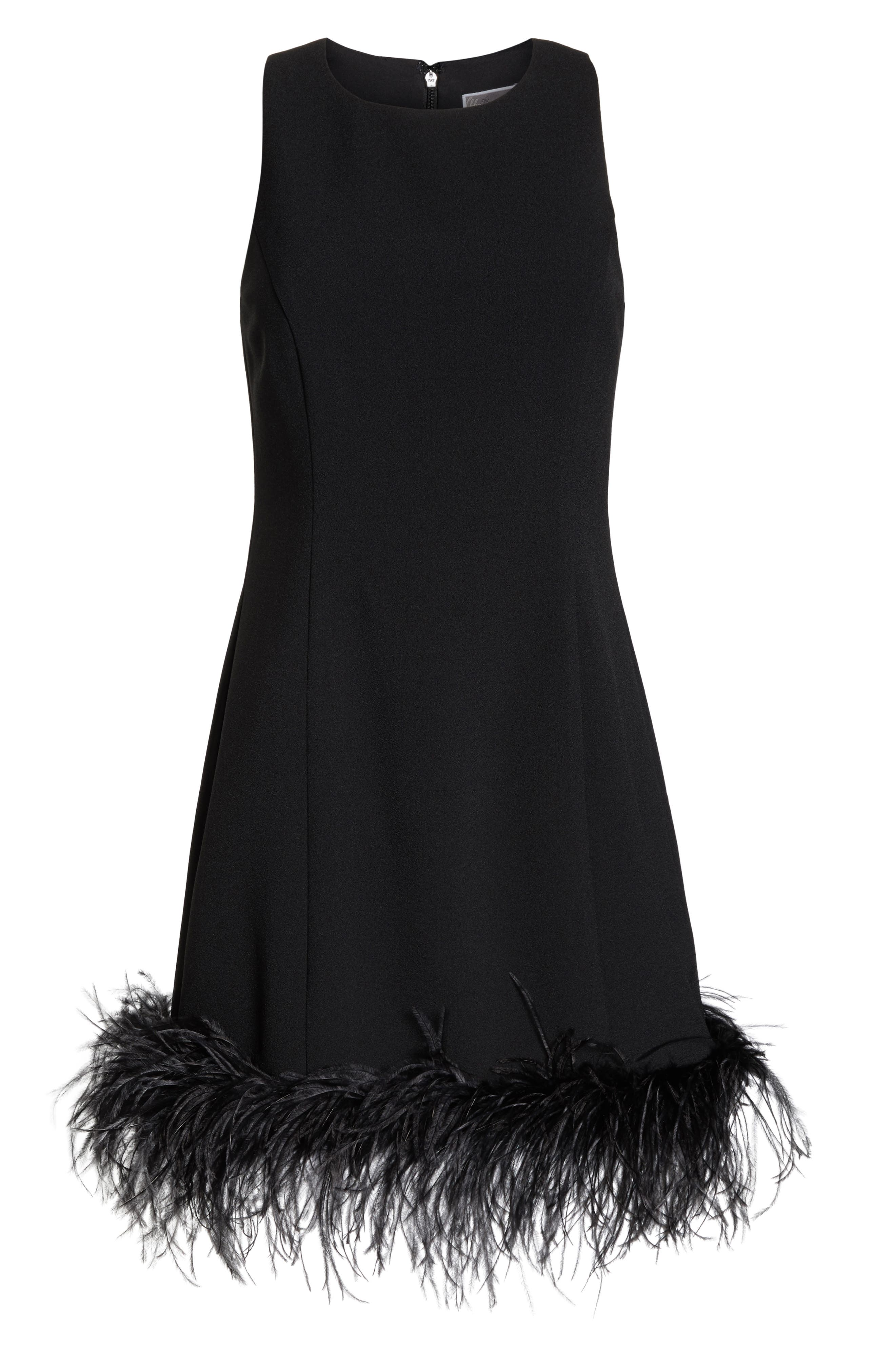 CHELSEA28, Feather Hem Sheath Dress, Alternate thumbnail 7, color, BLACK
