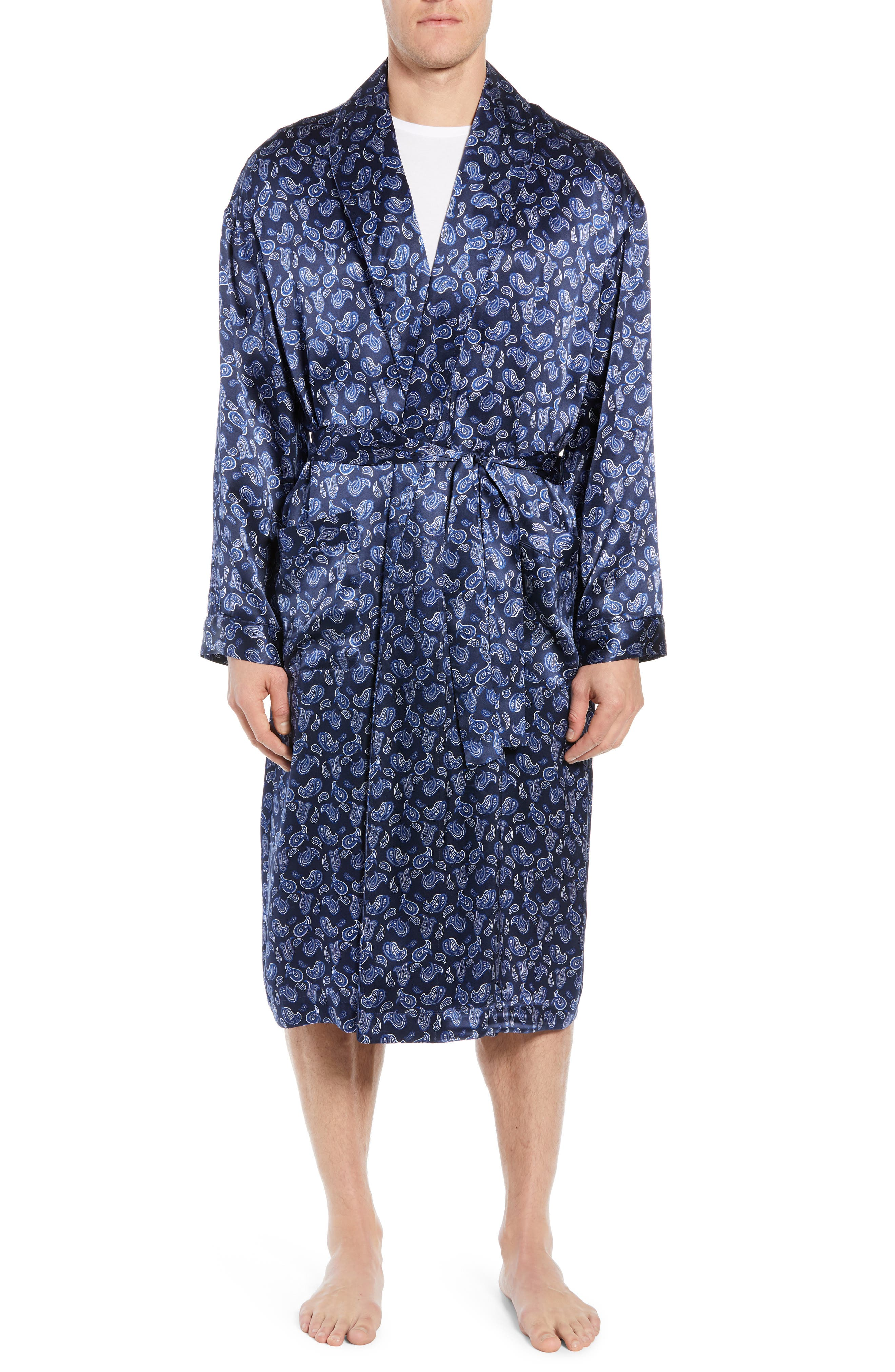 MAJESTIC INTERNATIONAL, Sapphire Silk Robe, Main thumbnail 1, color, NAVY PAISLEY