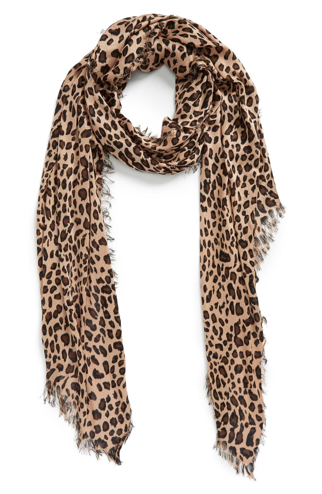 SOLE SOCIETY, Leopard Print Scarf, Main thumbnail 1, color, BROWN
