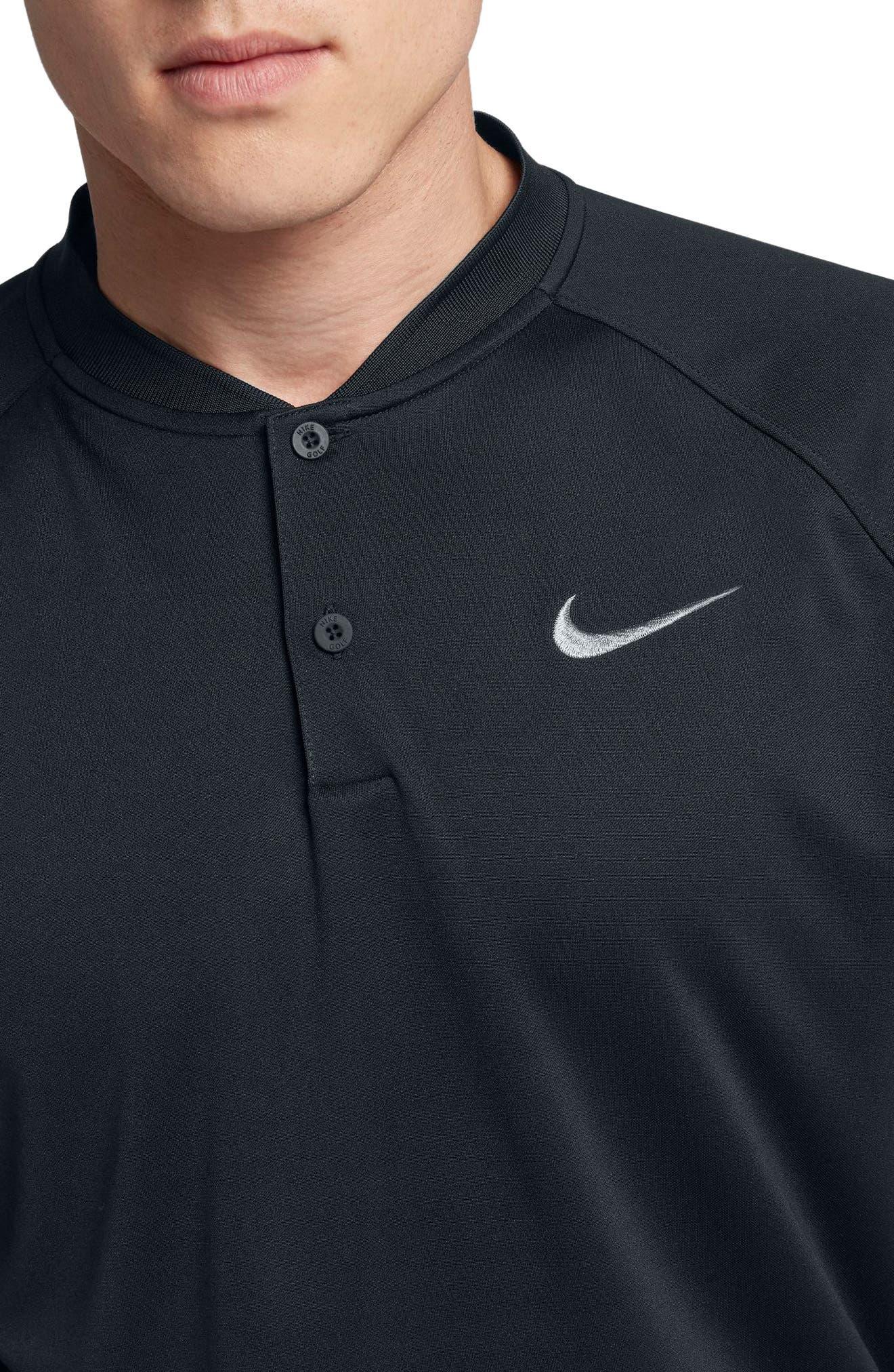 NIKE, Momentum Dri-FIT Golf Polo, Alternate thumbnail 4, color, BLACK/ BLACK/ GUNSMOKE