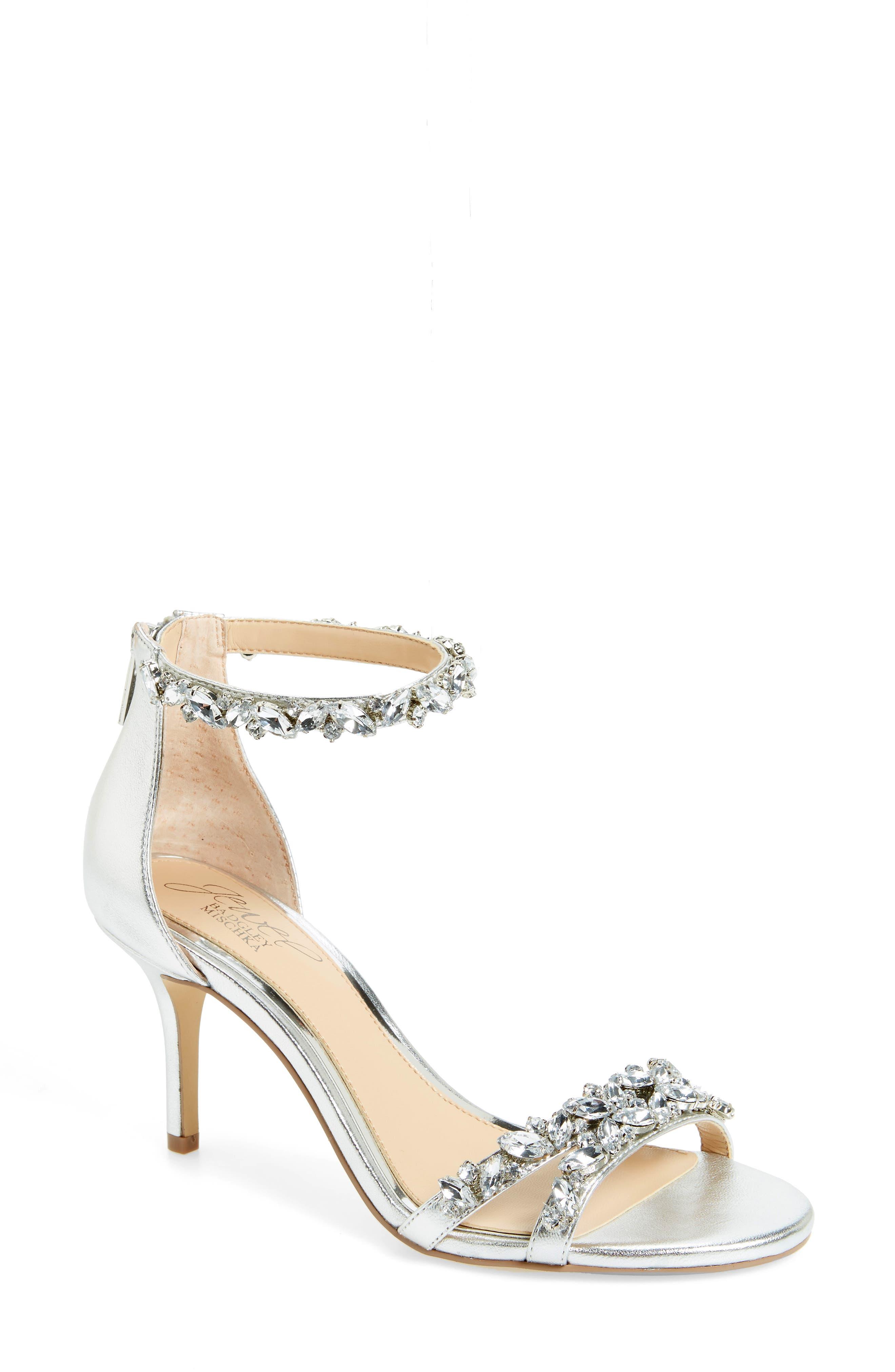 JEWEL BADGLEY MISCHKA Caroline Embellished Sandal, Main, color, SILVER LEATHER