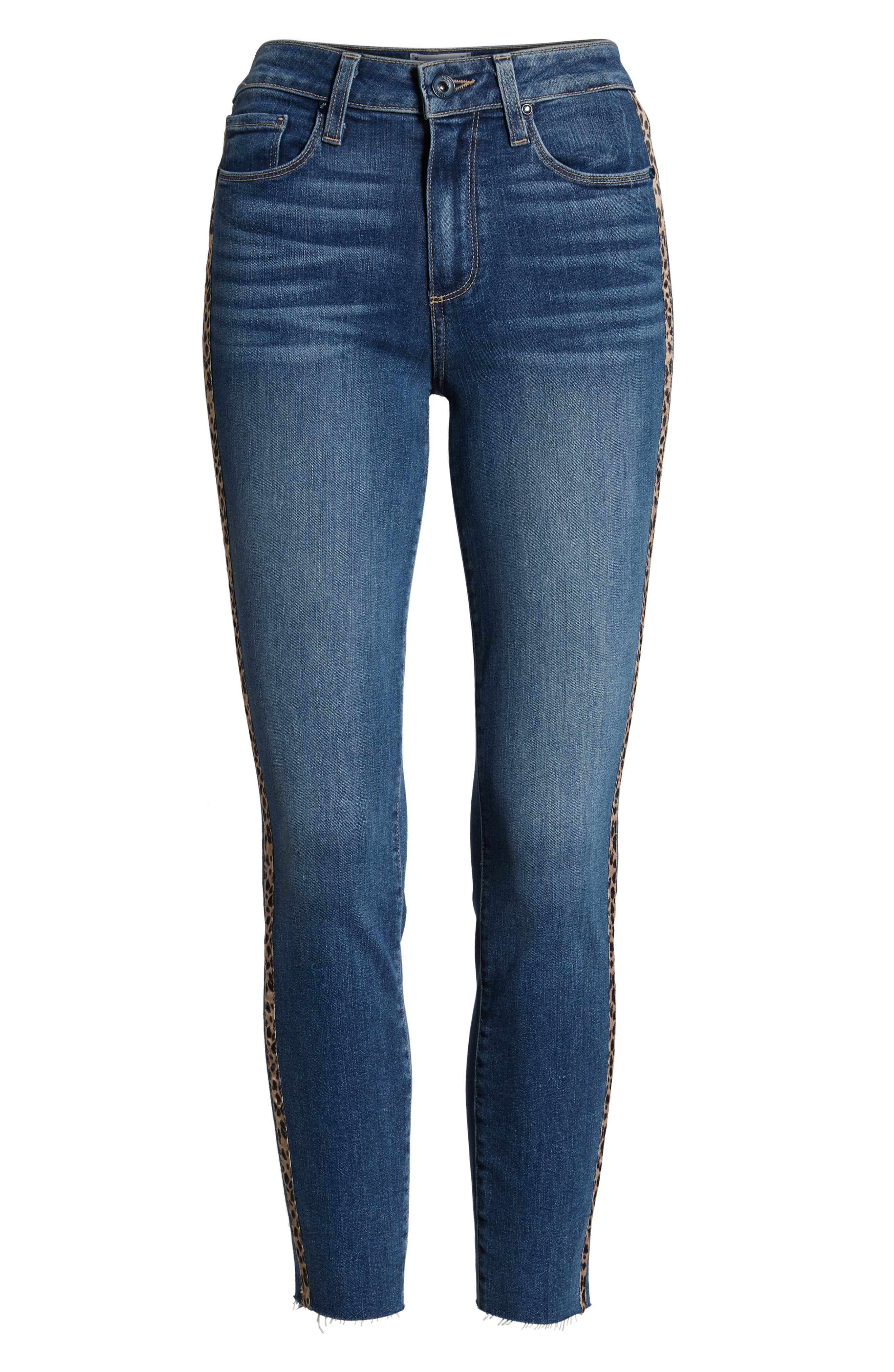 PAIGE, Hoxton High Waist Raw Hem Crop Skinny Jeans, Alternate thumbnail 6, color, BARKLEY W/ LEOPARD