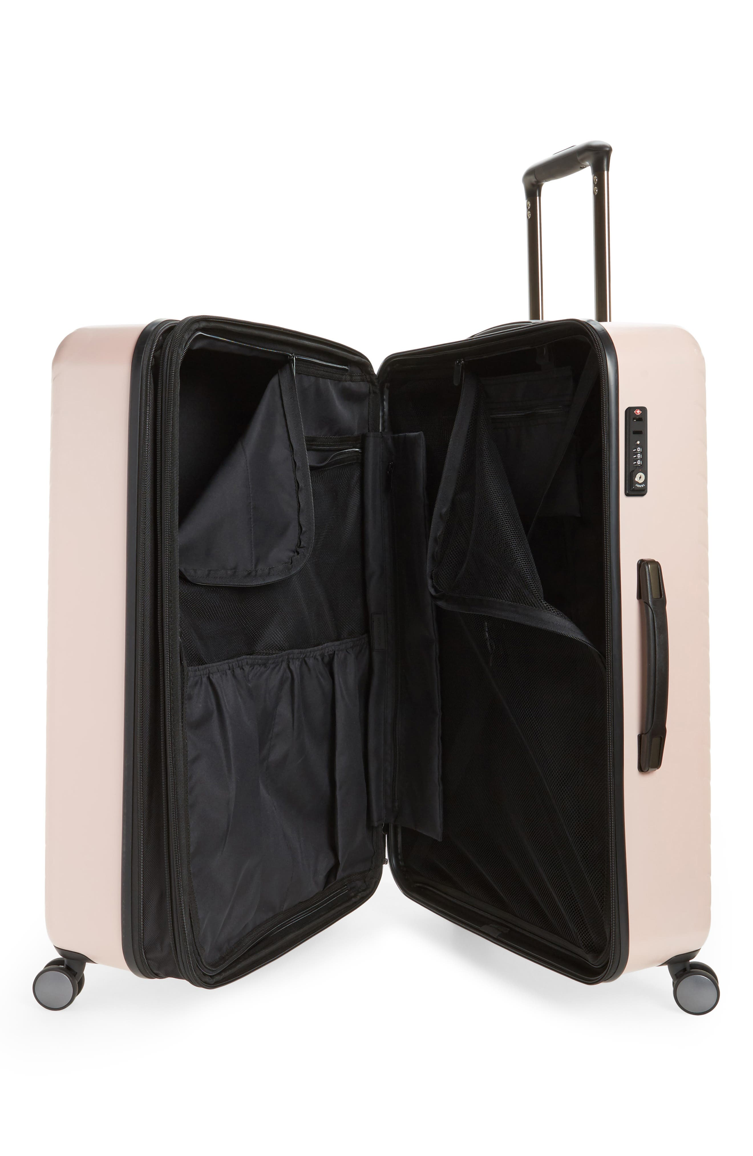 NORDSTROM, Chevron 29-Inch & 18-Inch Spinner Luggage Set, Alternate thumbnail 2, color, PINK HERO