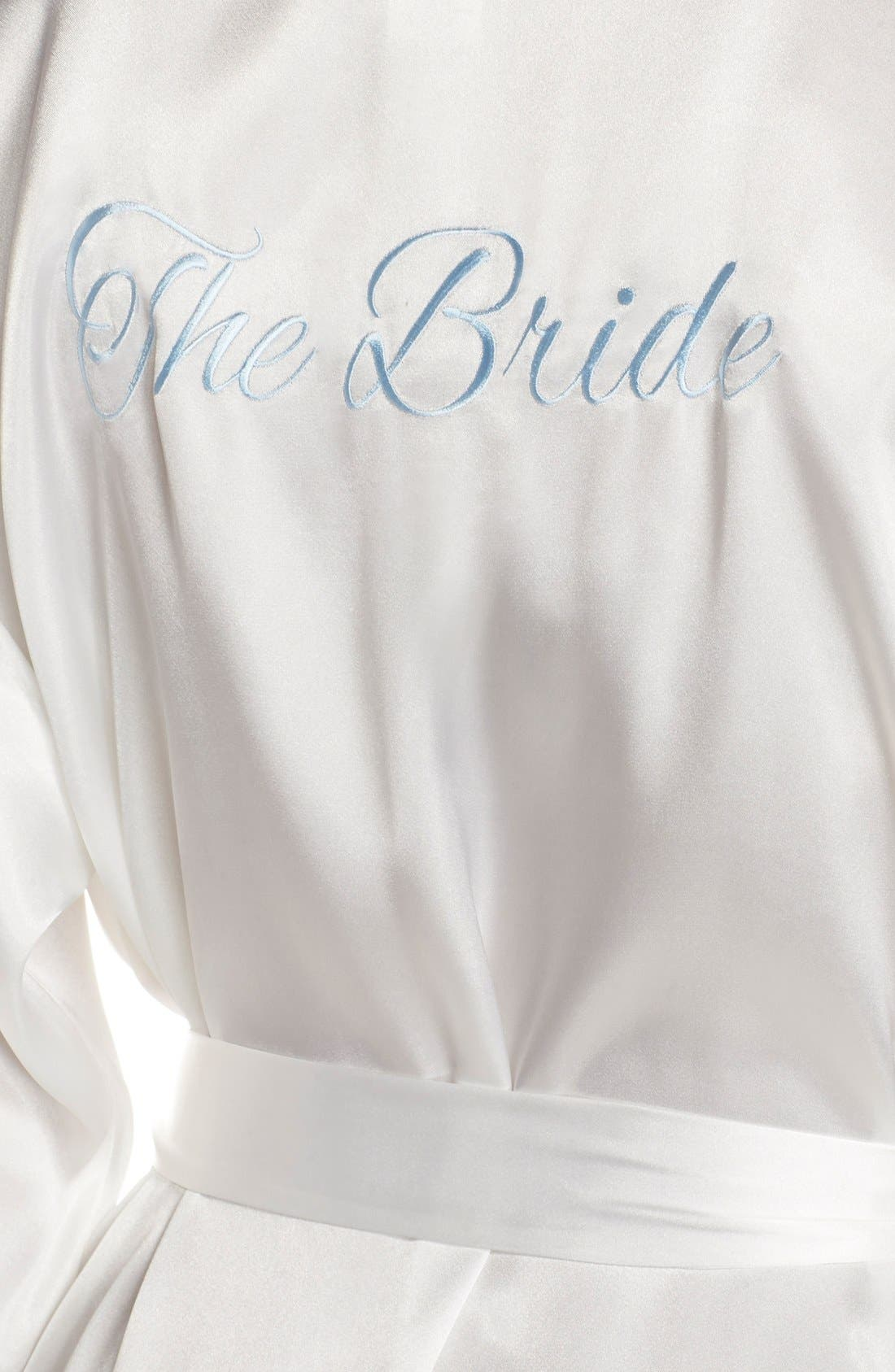 IN BLOOM BY JONQUIL, The Bride Short Satin Wrap, Alternate thumbnail 8, color, WHITE
