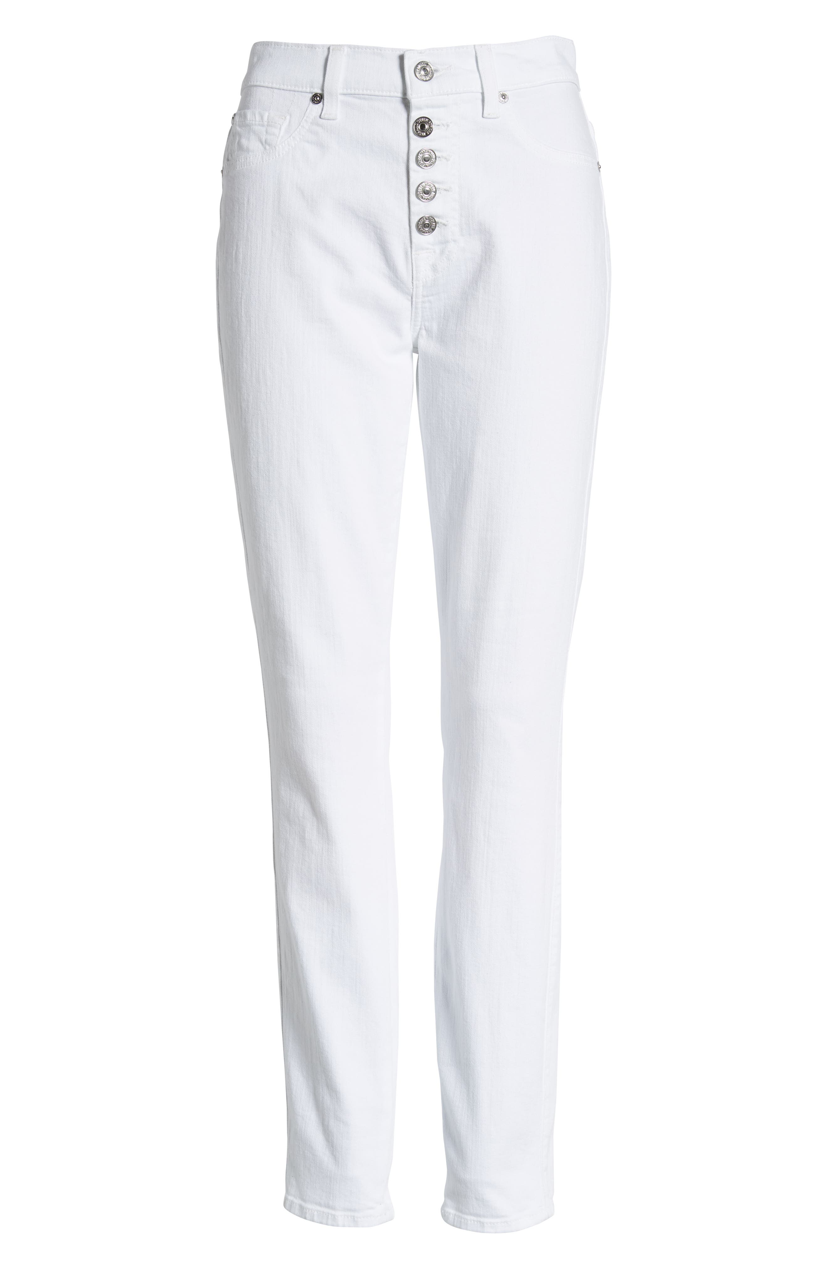 7 FOR ALL MANKIND<SUP>®</SUP>, Button Fly High Waist Ankle Skinny Jeans, Alternate thumbnail 7, color, WHITE RUNWAY DENIM