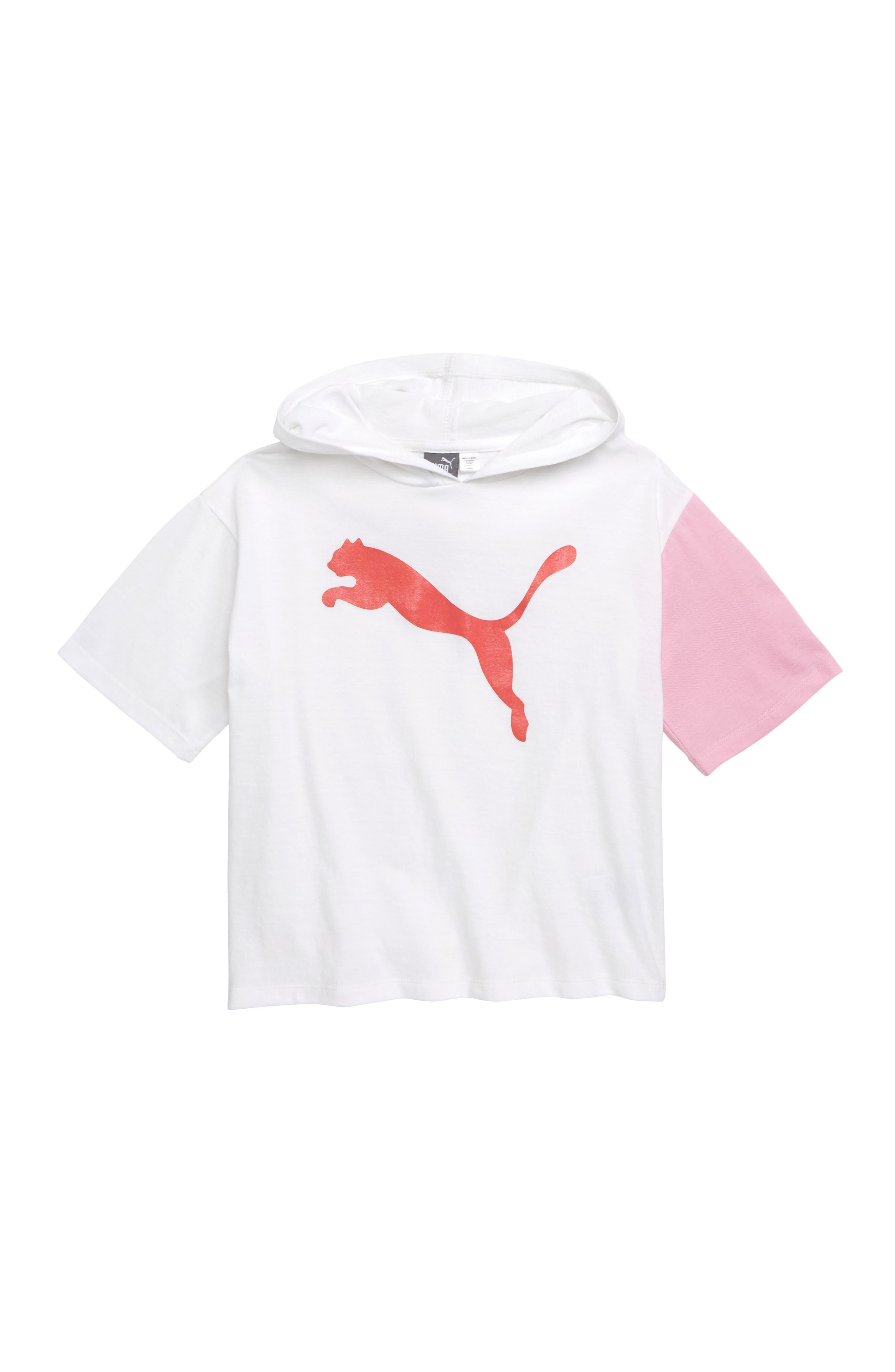 Girls Puma Logo Graphic Hooded Tee Size L (12)  White