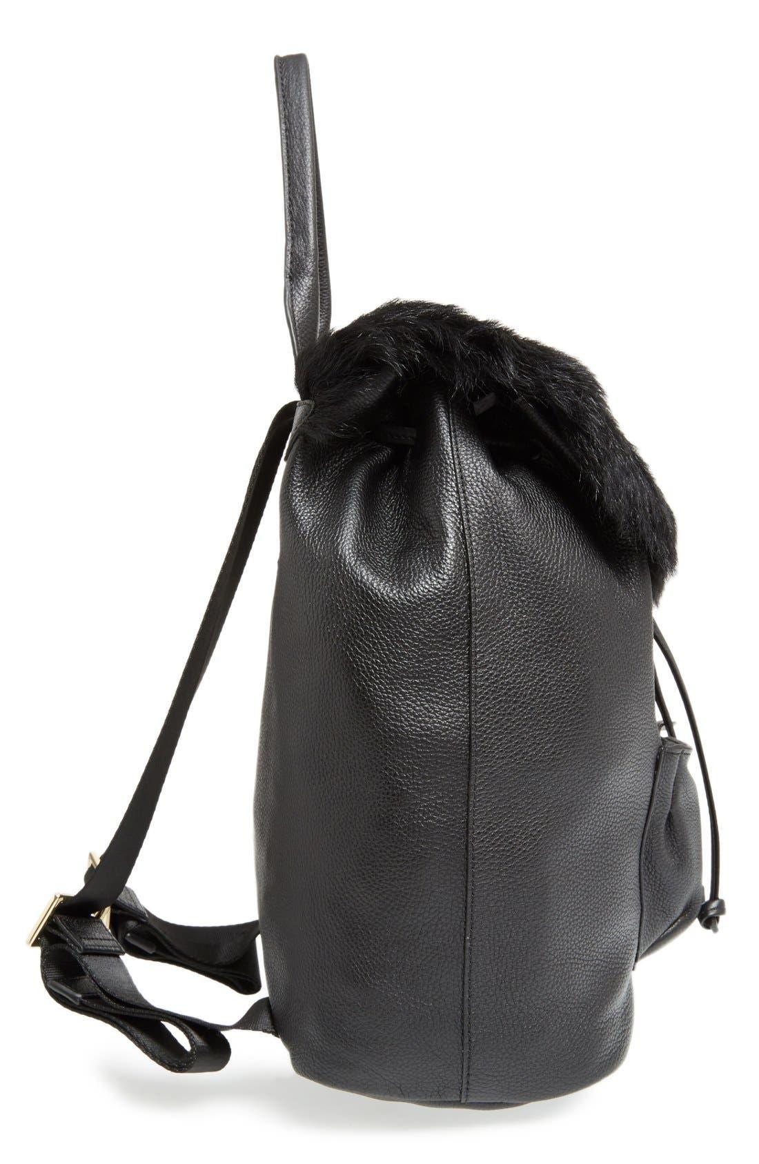 ELIZABETH AND JAMES, 'Langley' Leather & Genuine Sheep Fur Backpack, Alternate thumbnail 4, color, 001