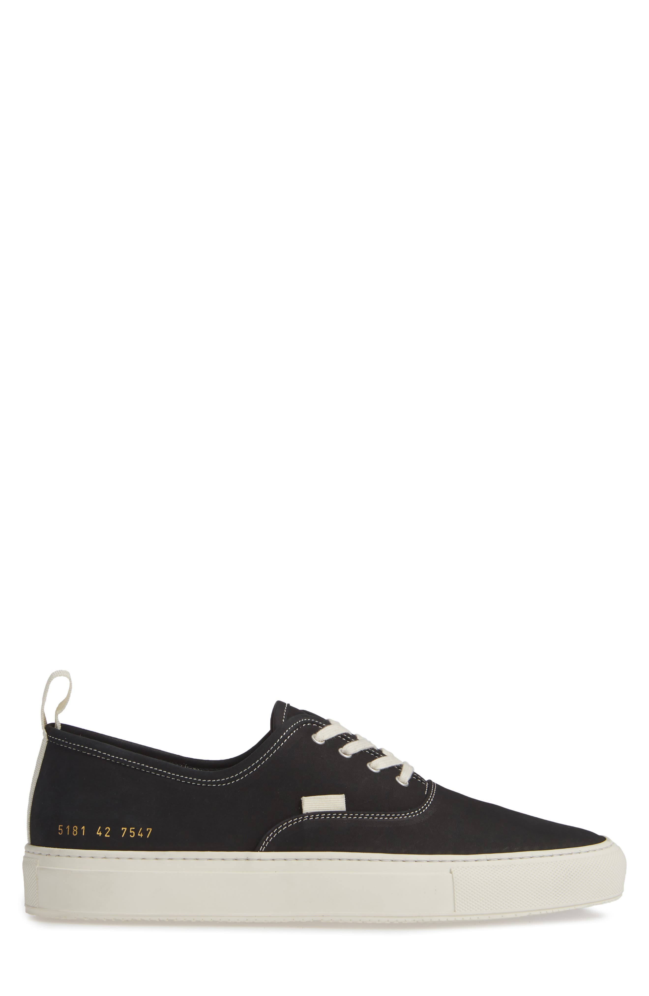 COMMON PROJECTS, Four-Hole Sneaker, Alternate thumbnail 3, color, BLACK