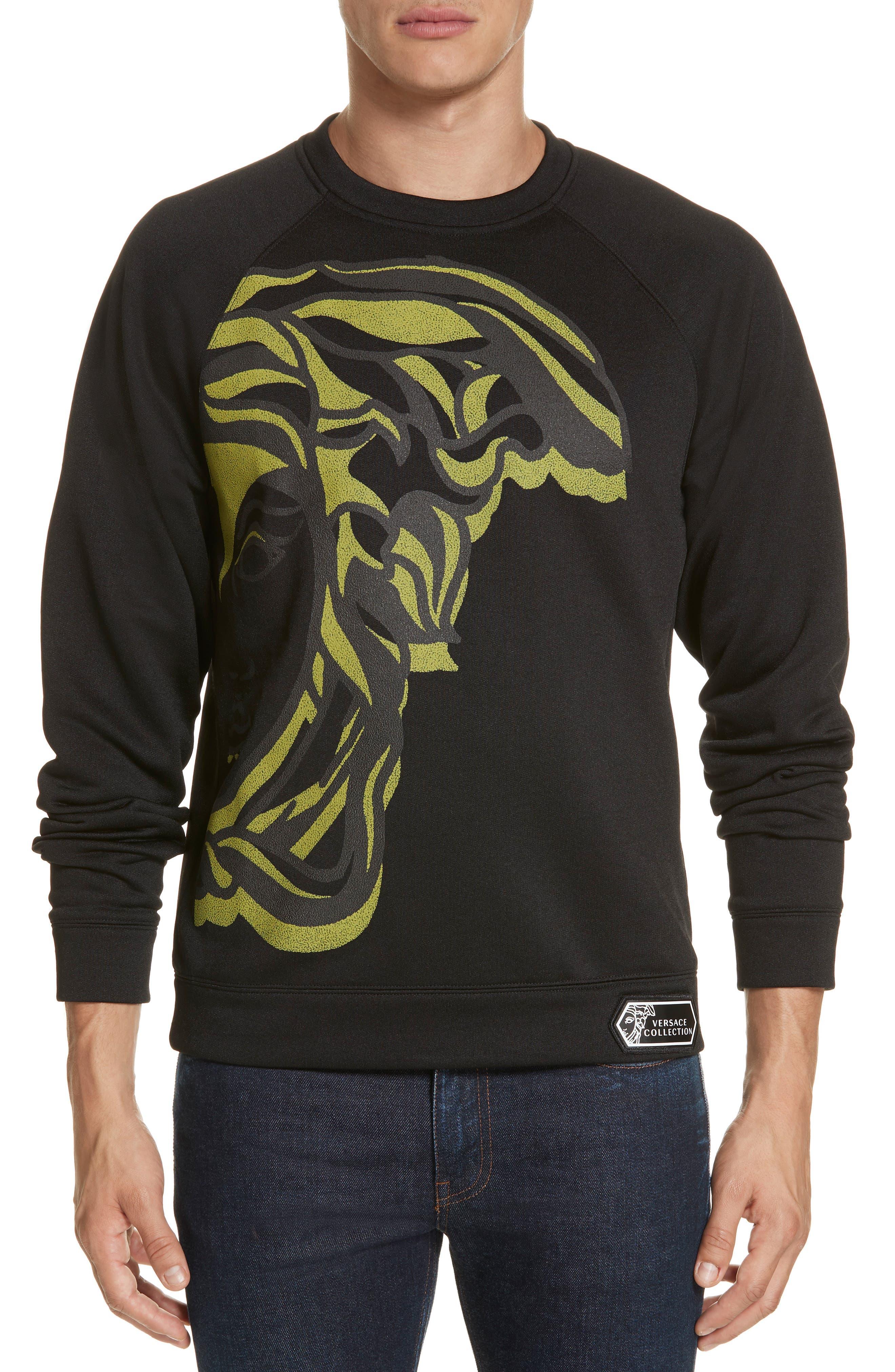 VERSACE COLLECTION, Medusa Print Sweatshirt, Main thumbnail 1, color, BLACK/ PAINT