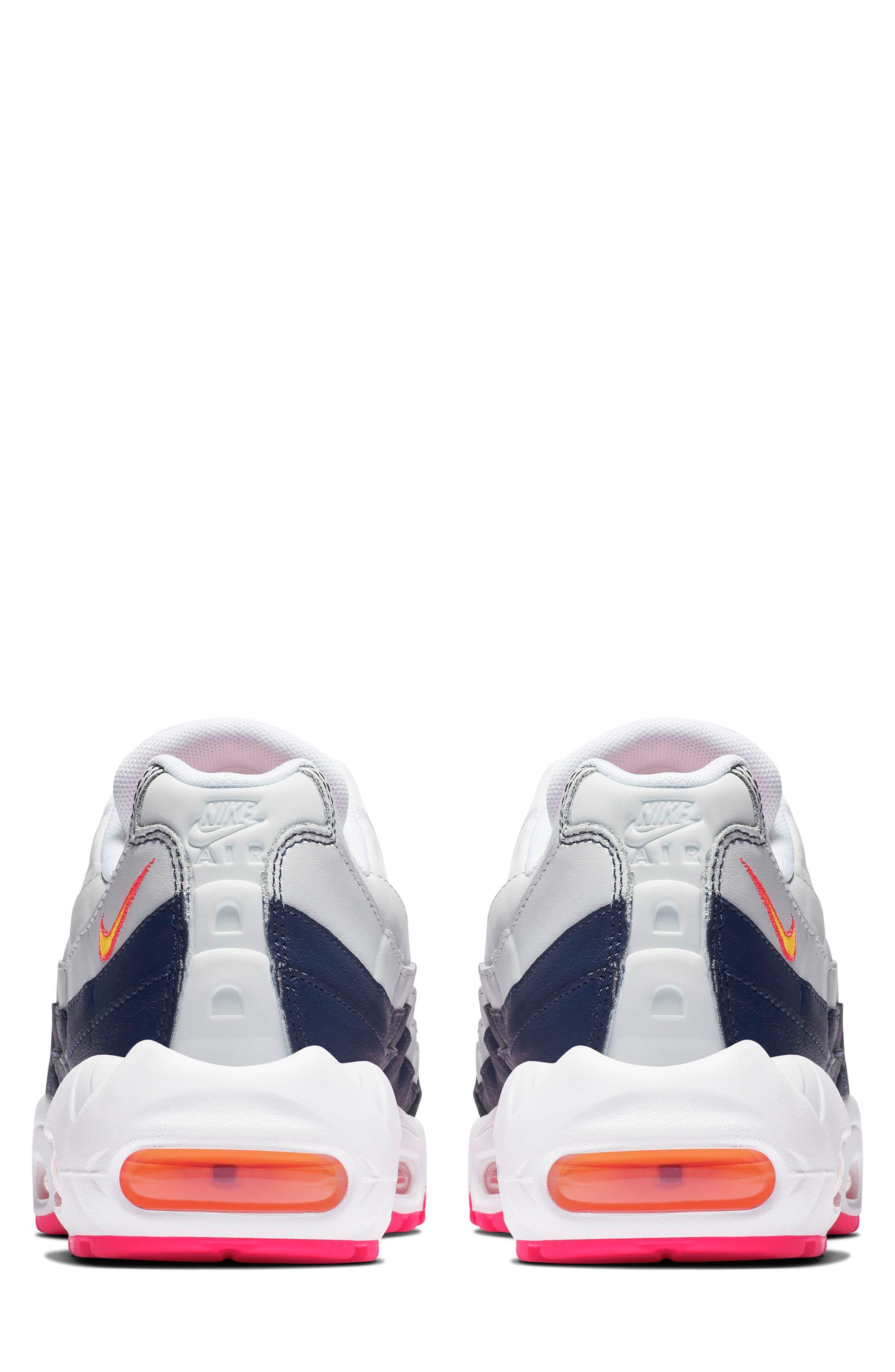 NIKE, Air Max 95 Running Shoe, Alternate thumbnail 2, color, NAVY/ LASER ORANGE/ PLATINUM