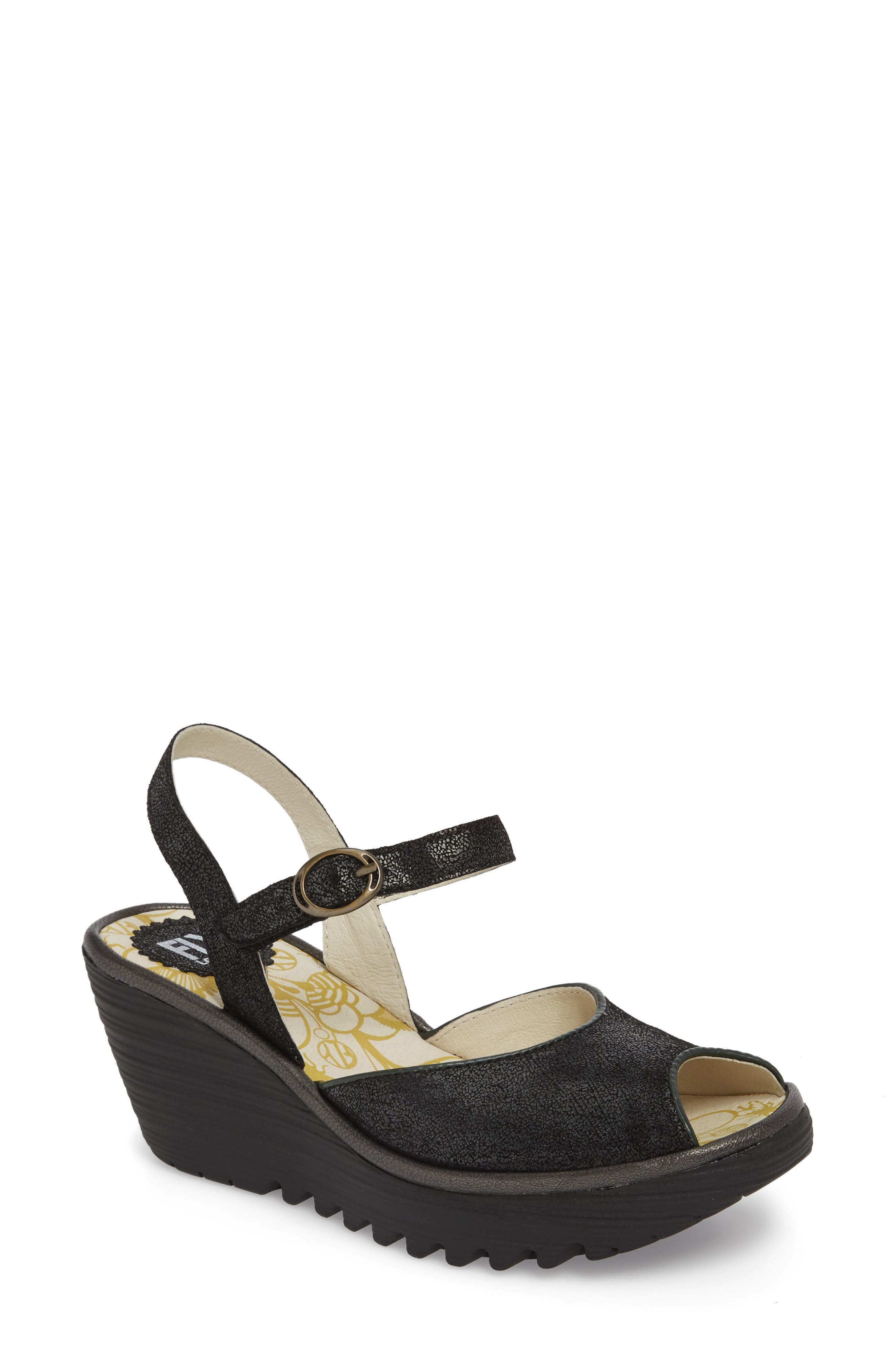 FLY LONDON Yora Wedge Sandal, Main, color, BLACK/ GRAPHITE LEATHER