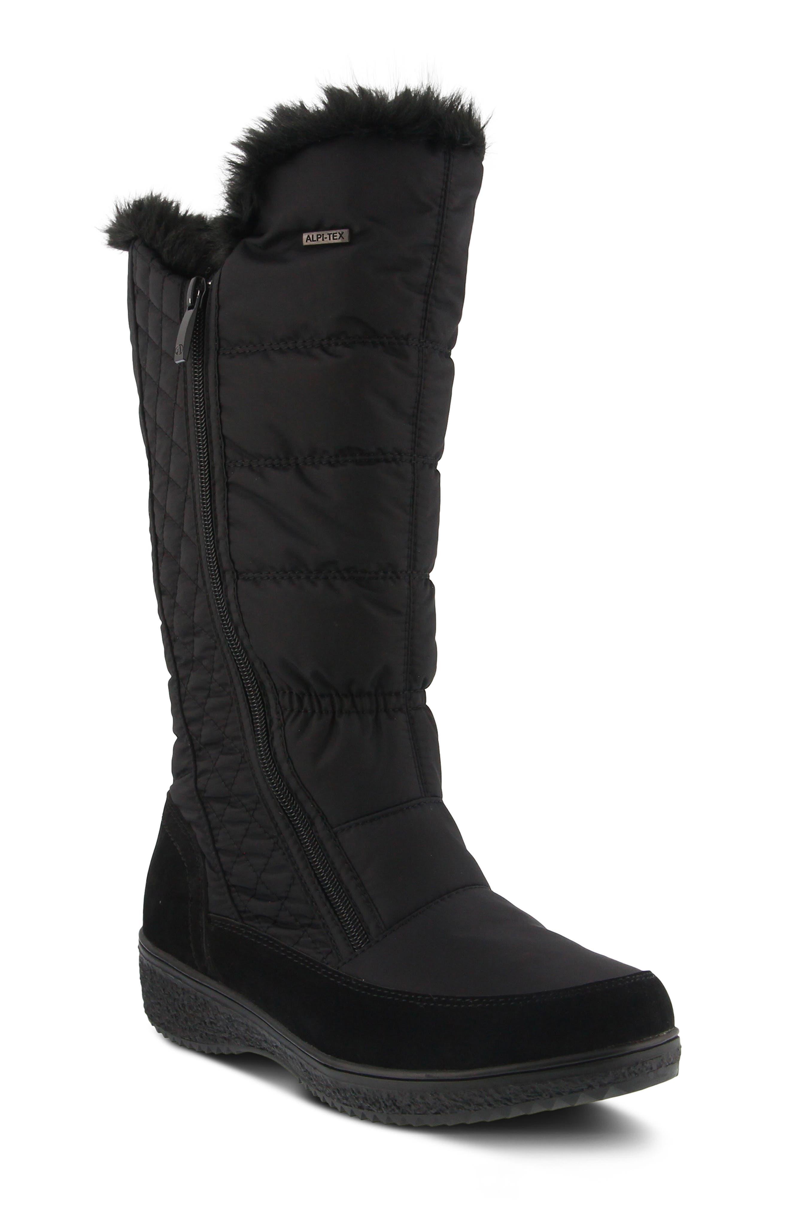Spring Step Mireya Waterproof Faux Fur Lined Boot - Black